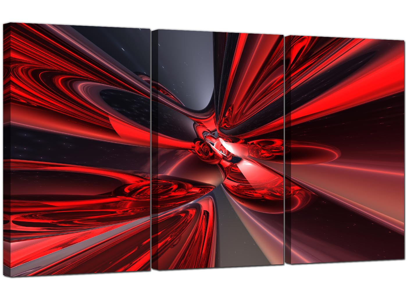 Extra Large Abstract Canvas Prints Uk Set Of Three In Red