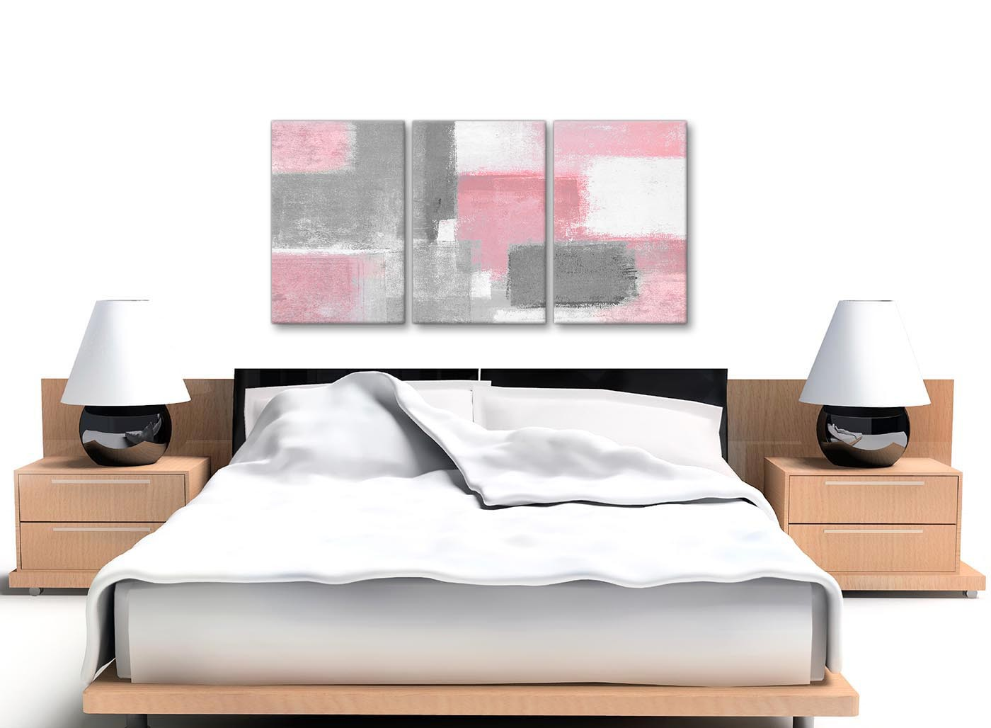 3 Piece Blush Pink Grey Painting Office Canvas Wall Art