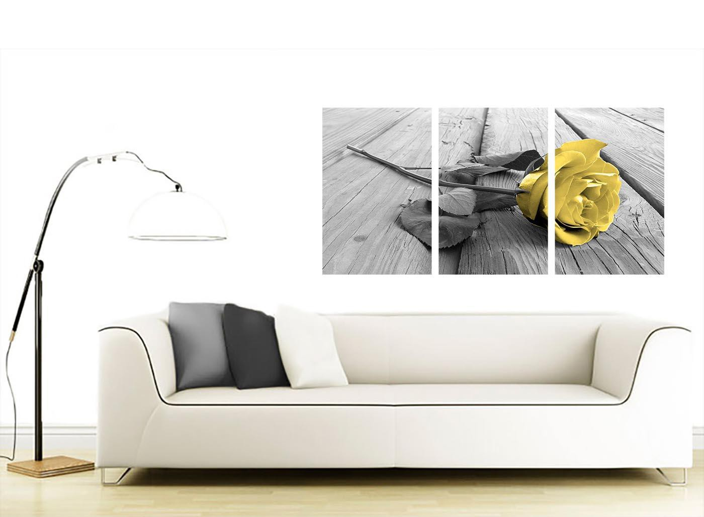 Yellow and Grey Rose Canvas Art 3 Panel for your Living Room
