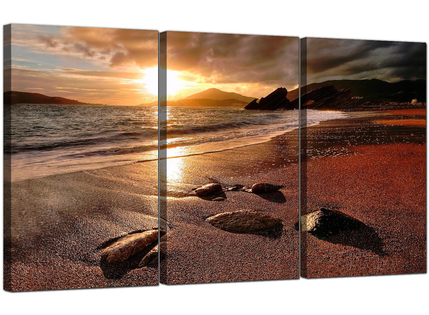 Cheap Beach Sunset Canvas Prints Set Of 3 For Your Bedroom