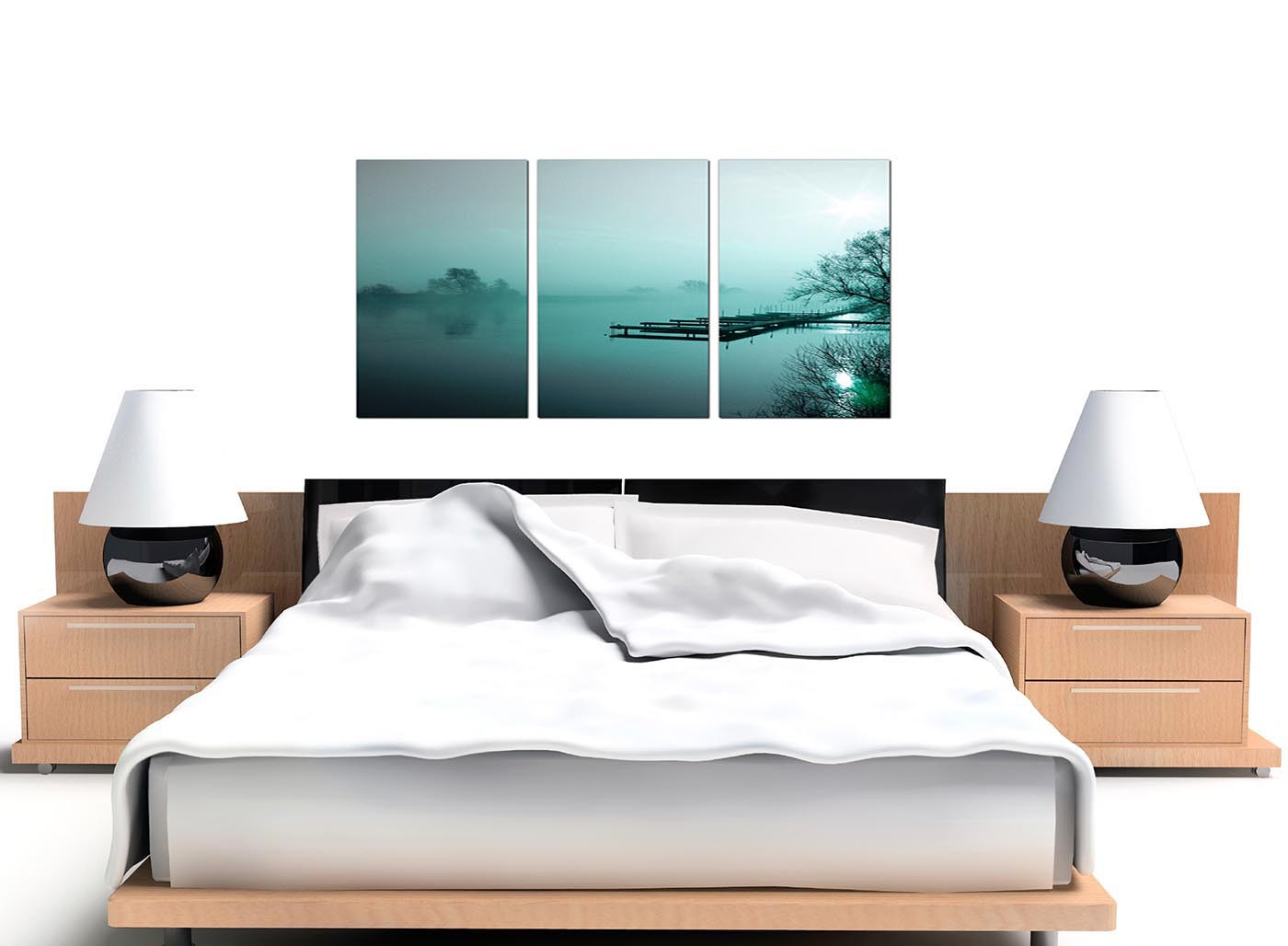 river landscape canvas pictures 3 panel for your office