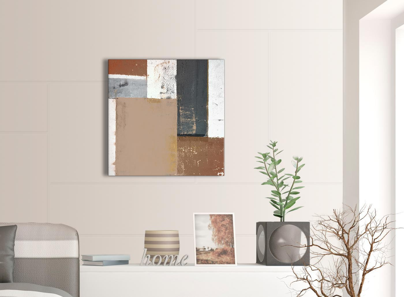 Brown Beige Grey Abstract Painting Canvas Wall Art Print
