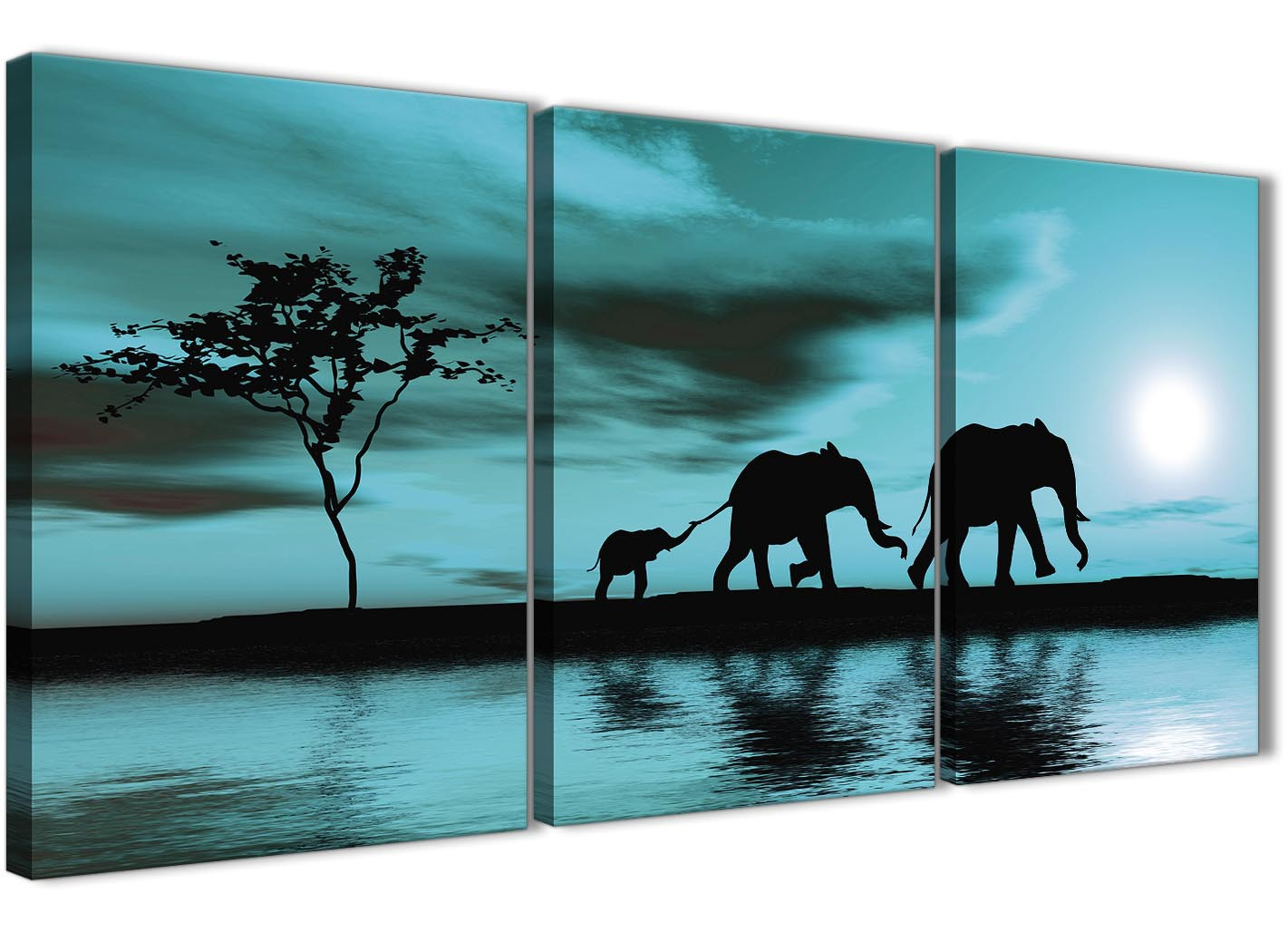 Teal African Sunset Elephants Canvas Wall Art Print