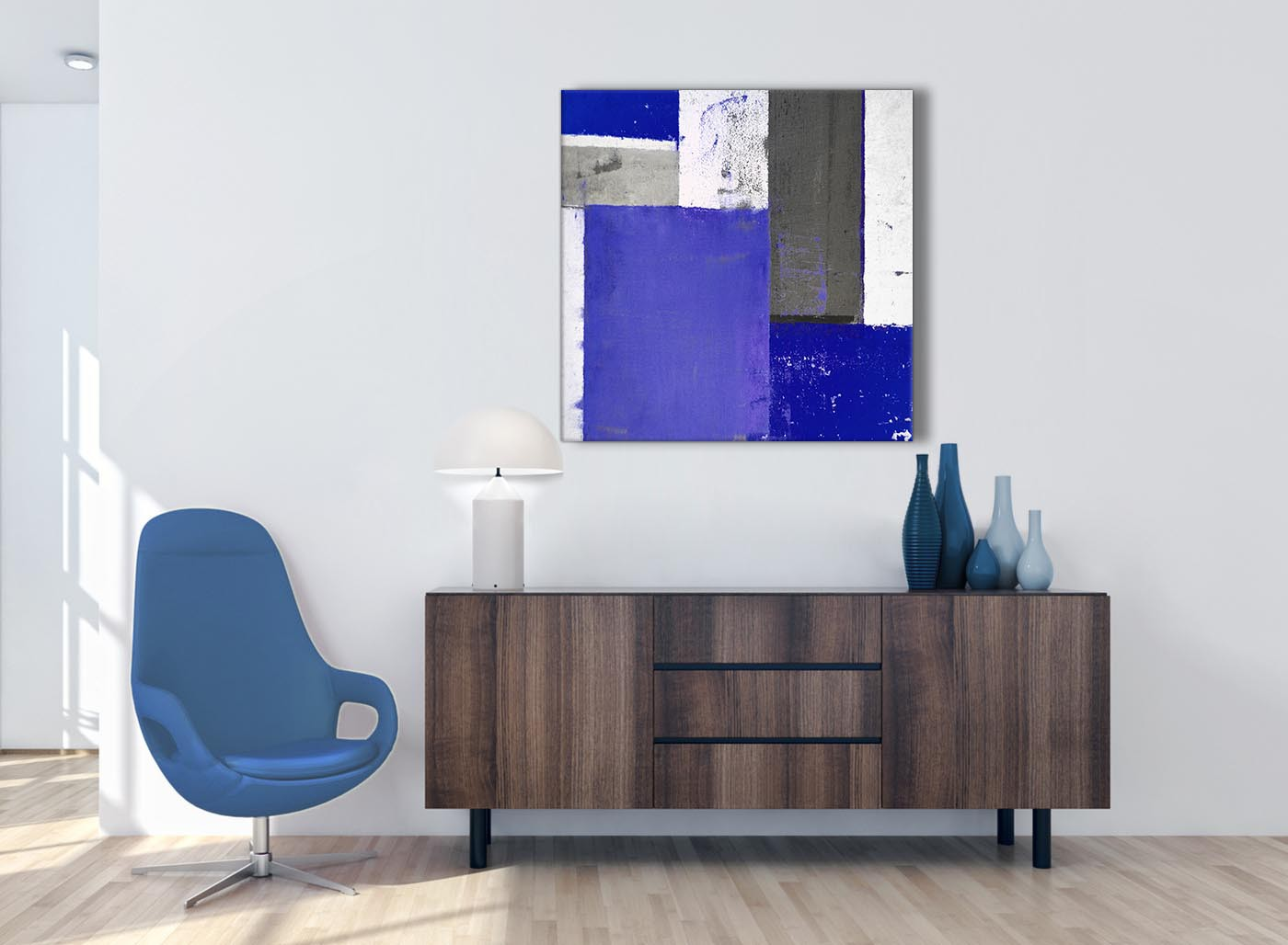 Indigo Navy Blue Abstract Painting Canvas Wall Art Print