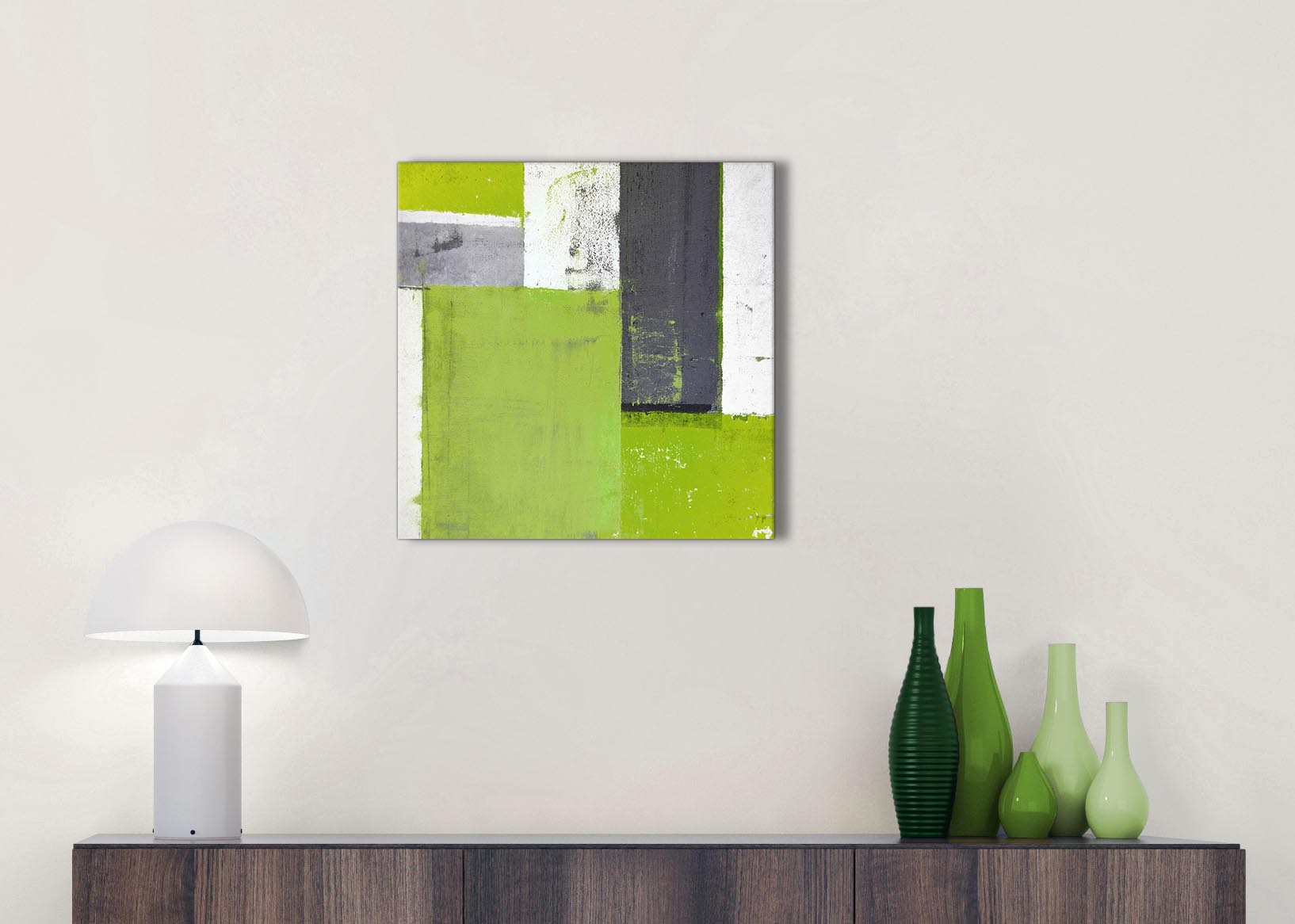 Lime Green Grey Abstract Painting Canvas Wall Art Print