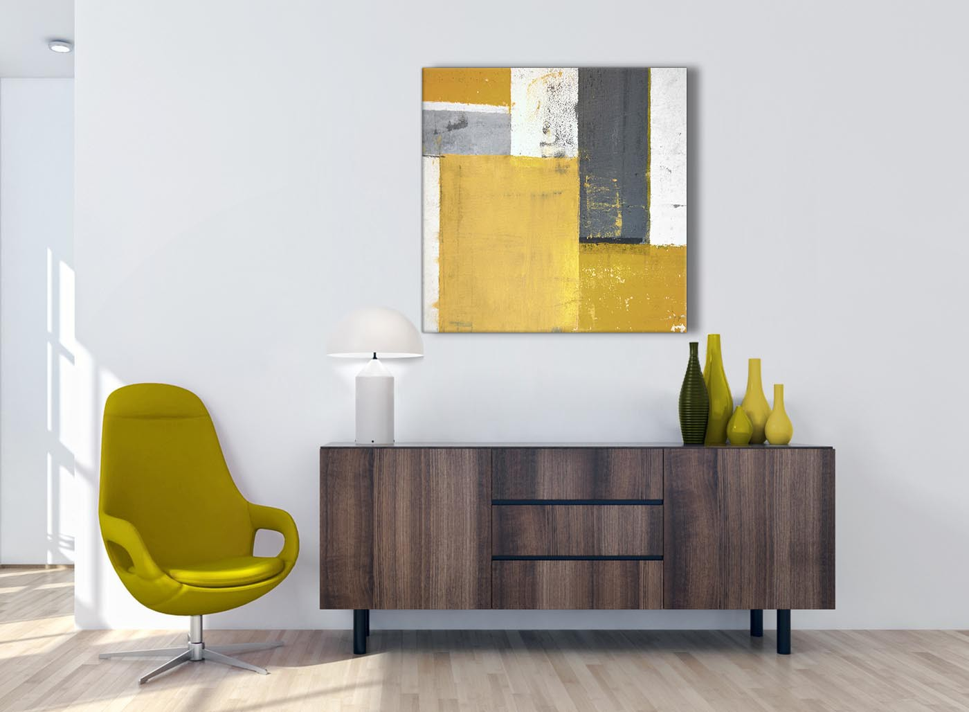Mustard Yellow Grey Abstract Painting Canvas Wall Art Print Modern Square