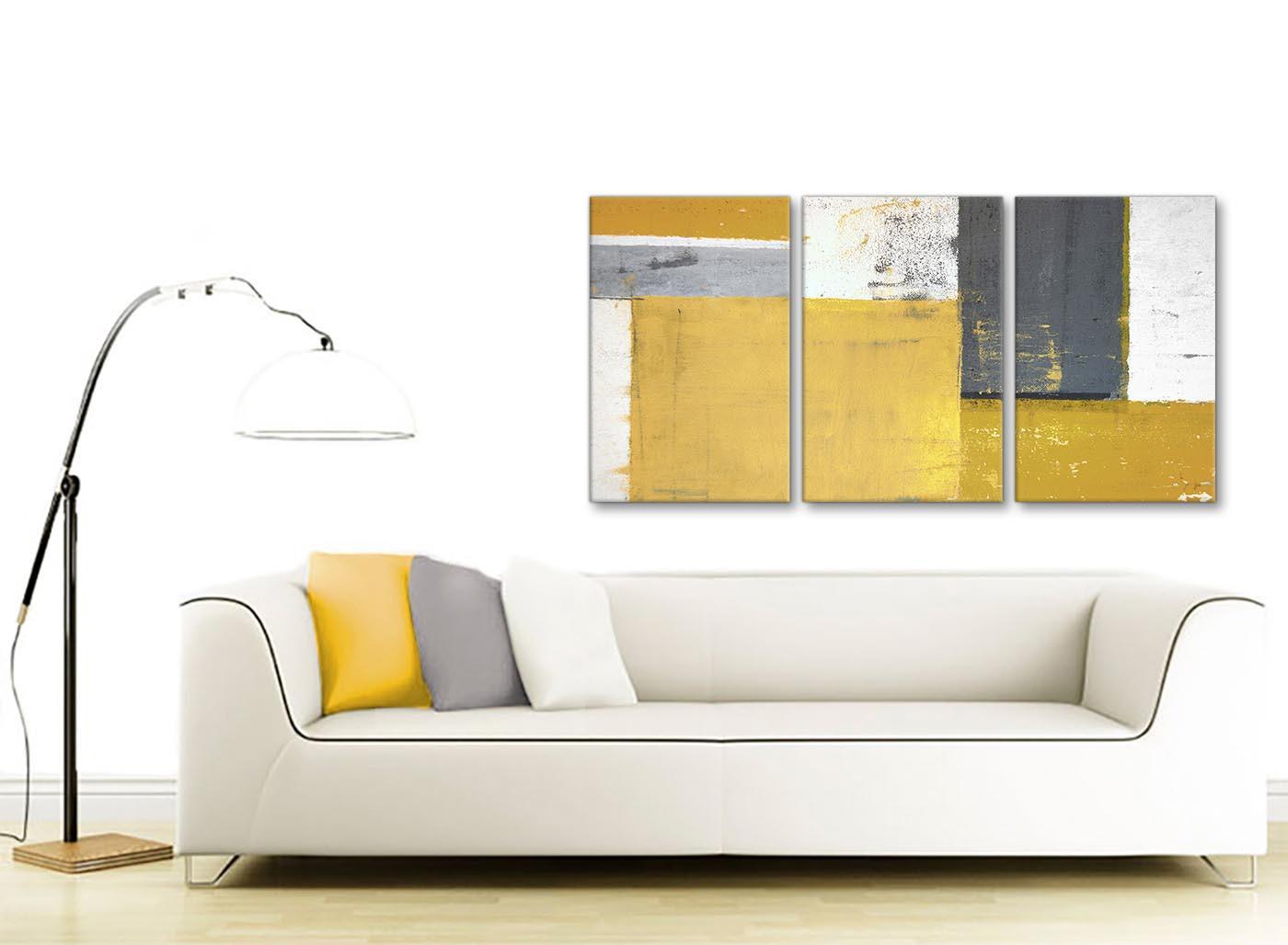 Mustard Yellow Grey Abstract Painting Canvas Wall Art Print - Split ...