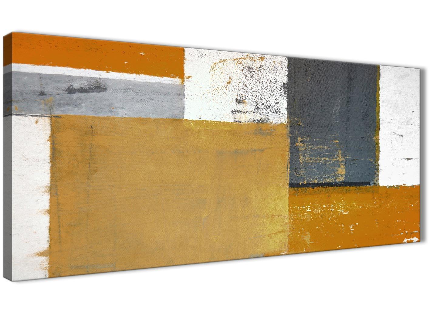 Orange Grey Abstract Painting Canvas Wall Art Print - Modern 120cm ...
