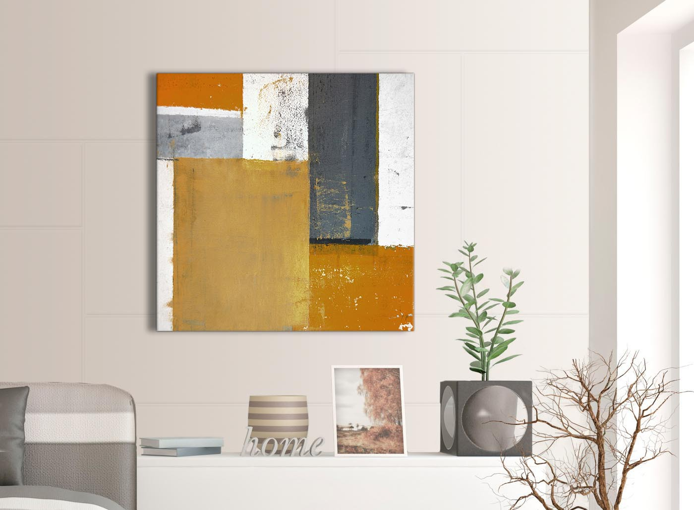 Orange Grey Abstract Painting Canvas Wall Art Print