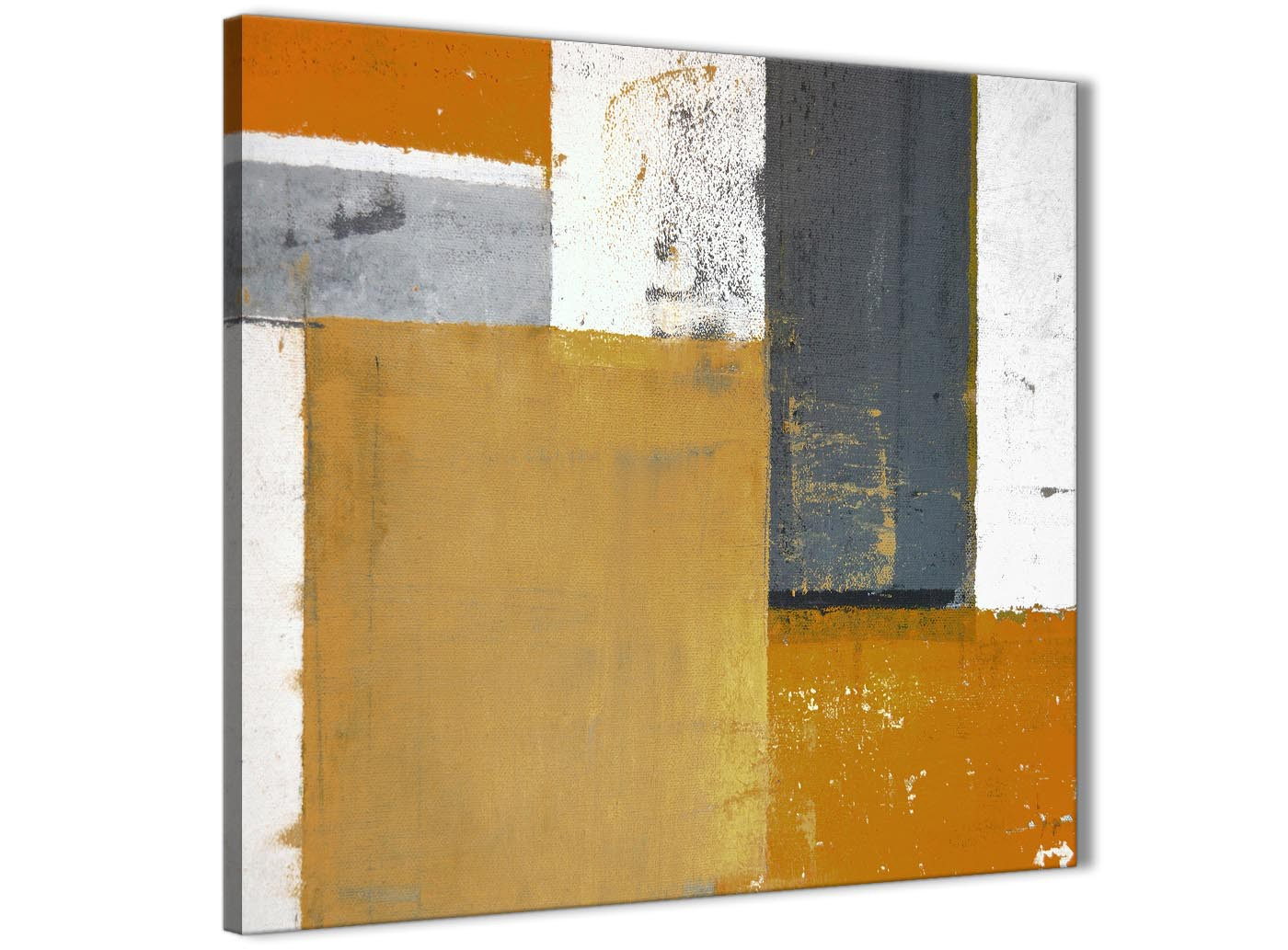 Orange Grey Abstract Painting Canvas Wall Art Print - Modern 49cm ...