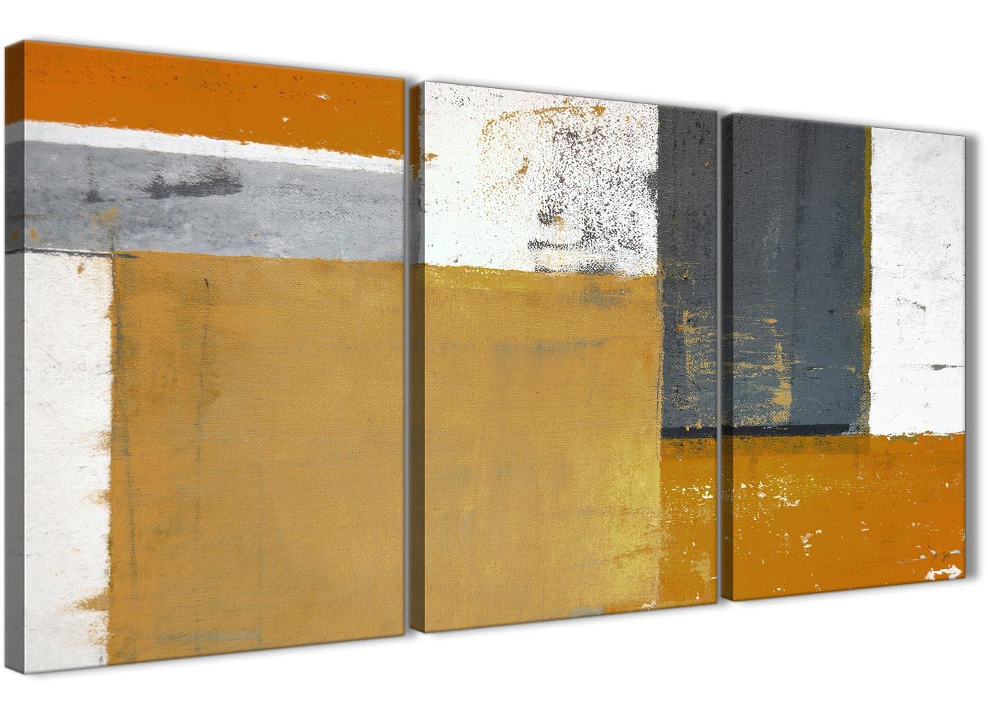 Orange Grey Abstract Painting Canvas Wall Art Print - Split 3 Part ...
