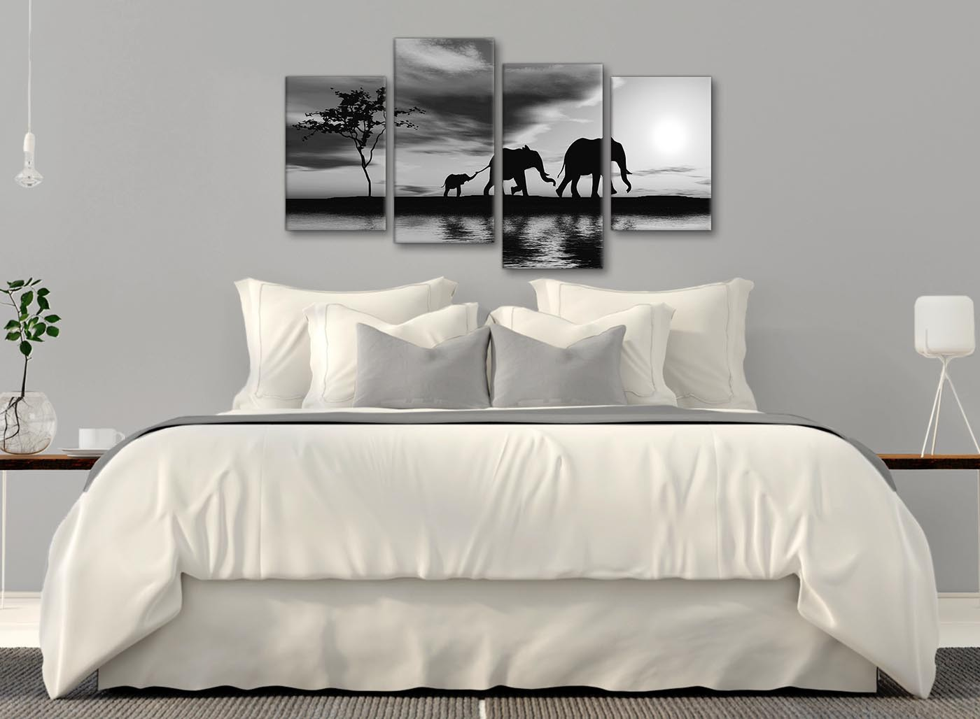 Large black white african sunset elephants canvas wall art for Sofa bed 130cm wide