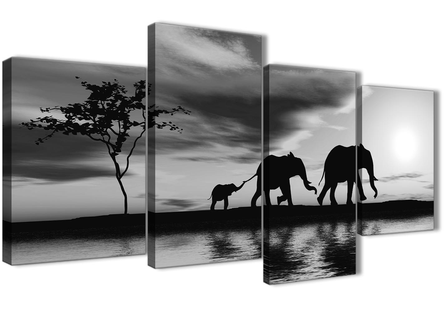 Large Black White African Sunset Elephants Canvas Wall Art