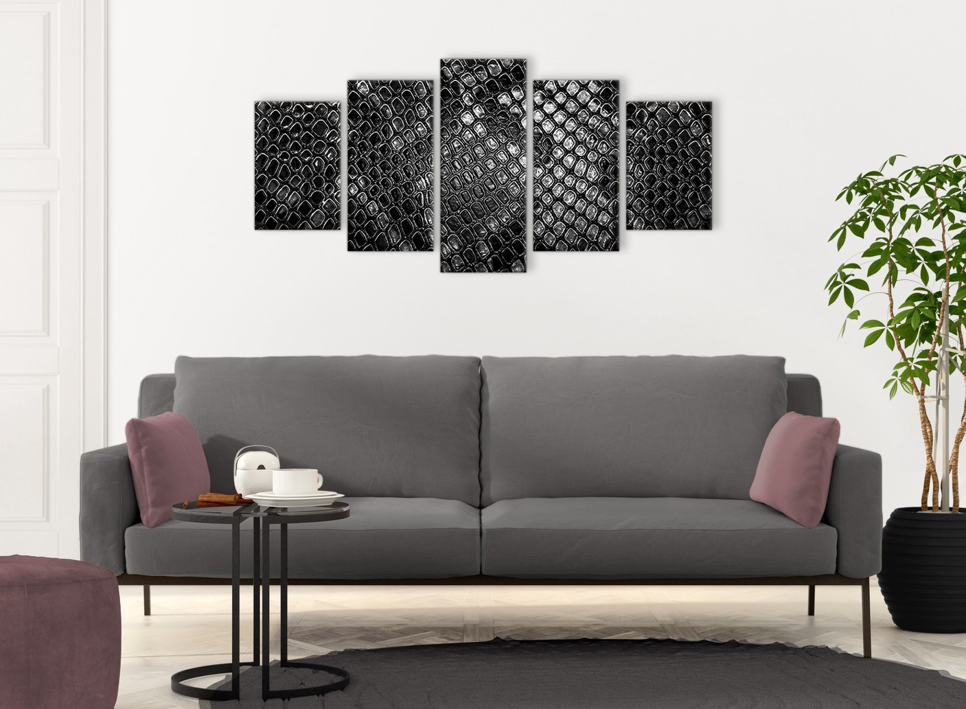 5 panel black white snakeskin animal print abstract living room canvas wall art decor 5510 160cm xl set artwork