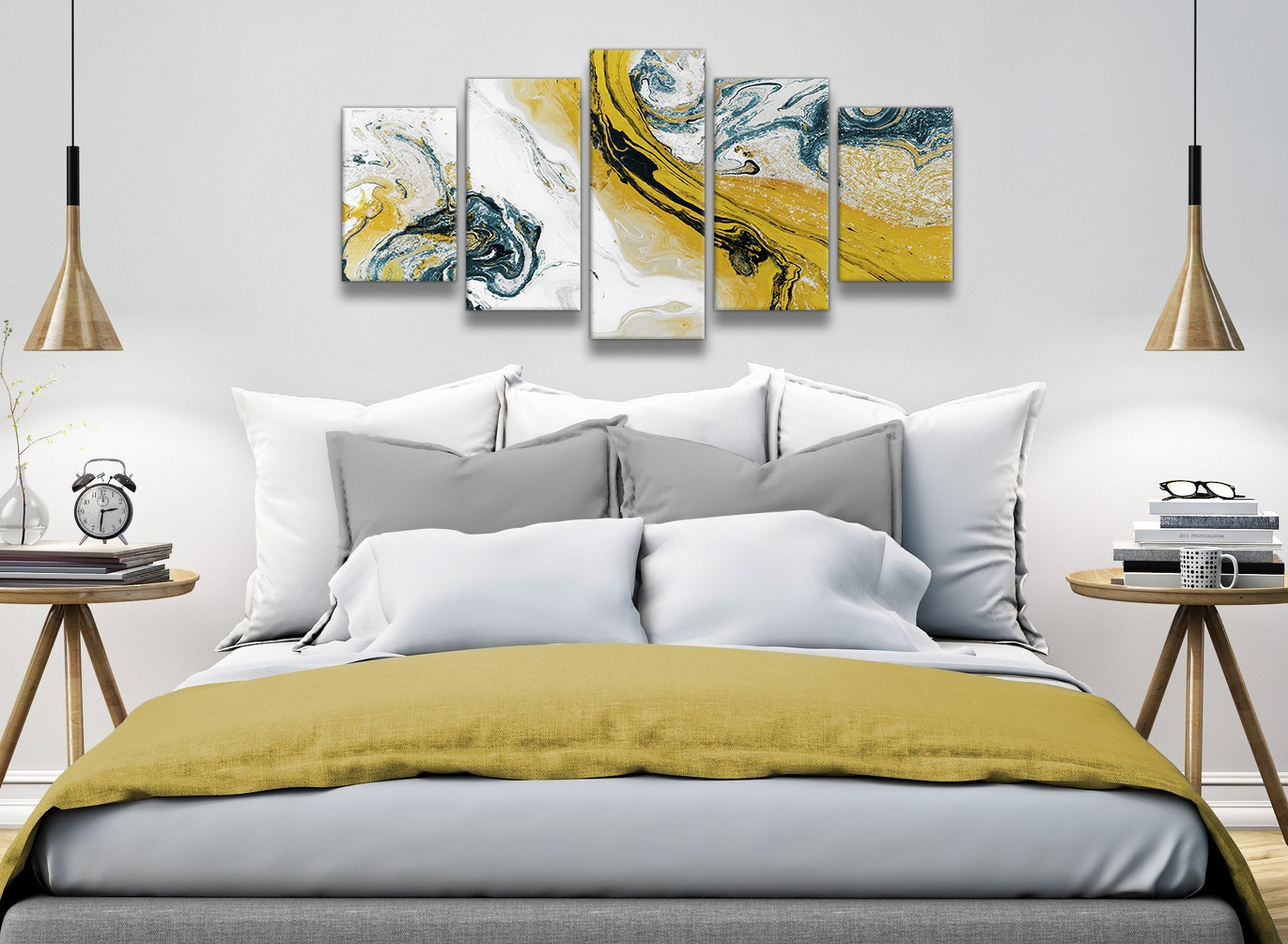 Mustard Yellow and Teal Swirl Bedroom Canvas Pictures