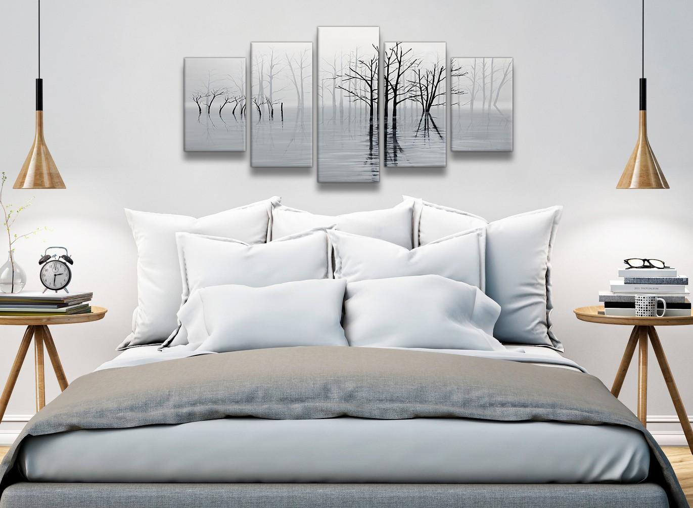5 Piece Black White Grey Tree Landscape Painting Bedroom Canvas Wall Art Decor 5416 160cm Xl Set Artwork