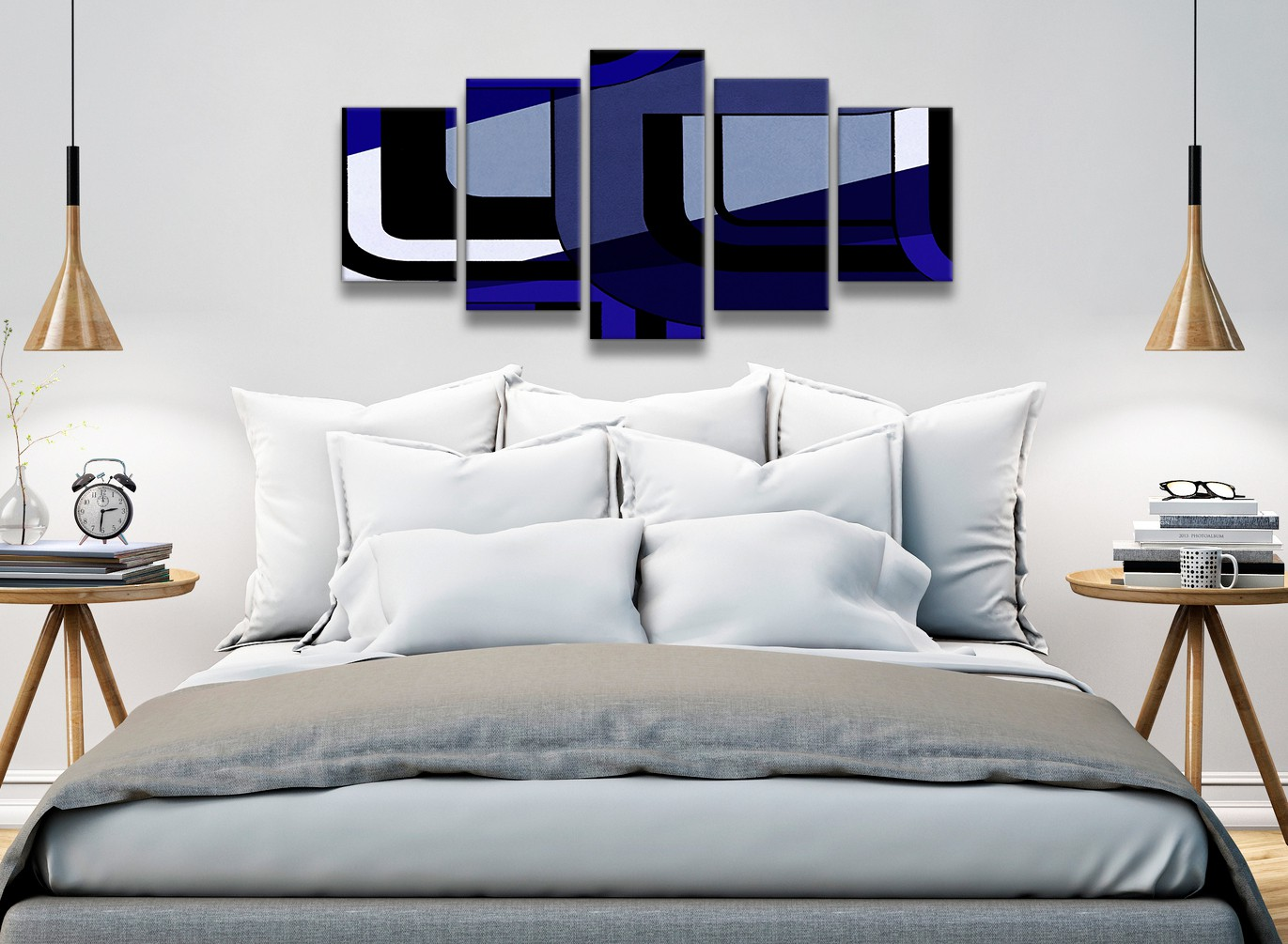 5 panel indigo navy blue painting abstract bedroom canvas