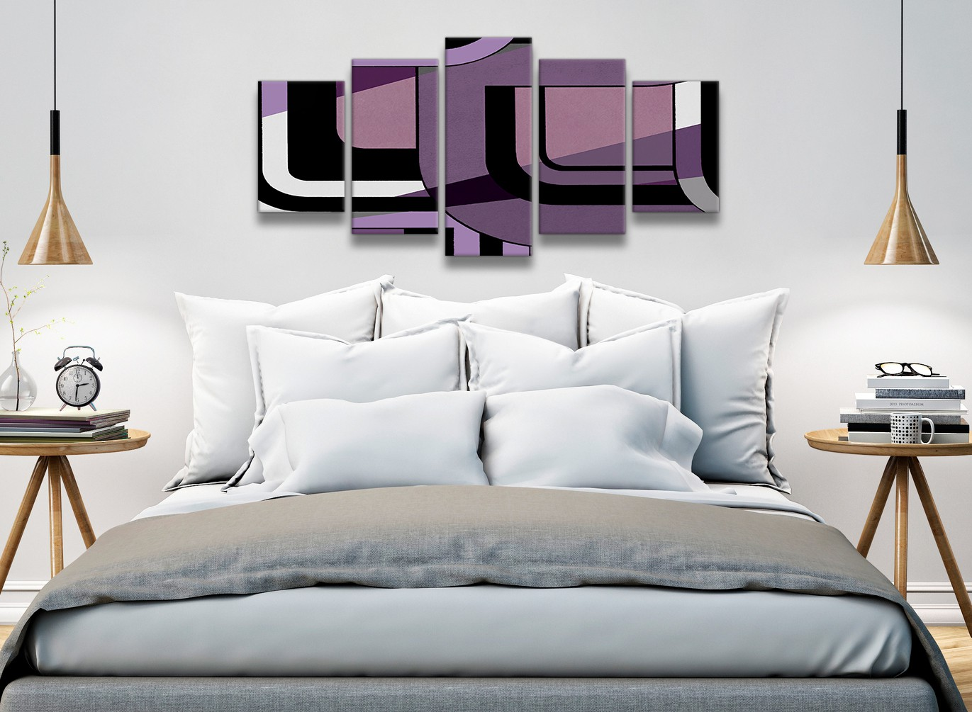 5 Panel Lilac Grey Painting Abstract Bedroom Canvas Wall