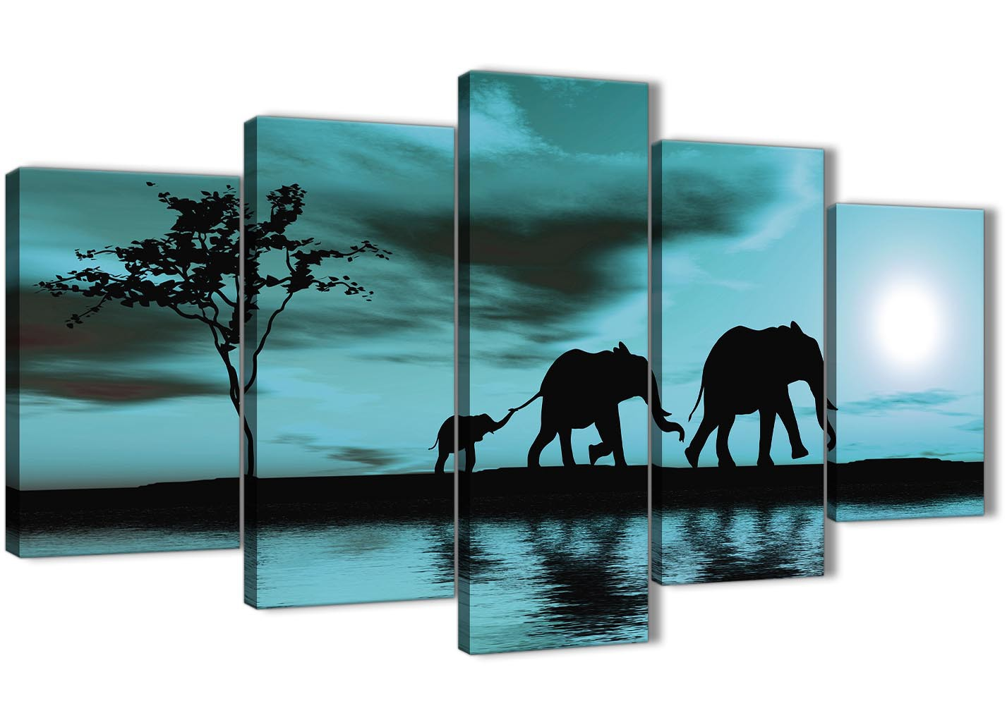Extra Large Teal African Sunset Elephants Canvas Wall Art