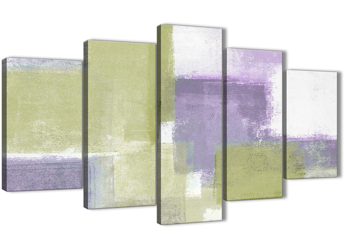 Extra Large Lime Green Purple Abstract Painting Canvas