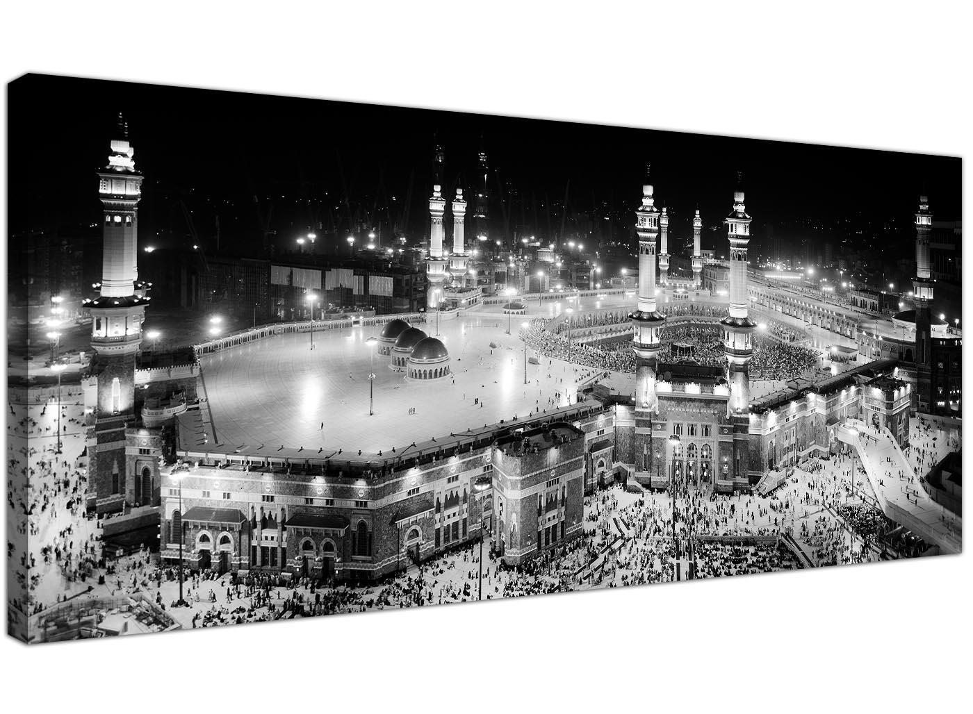 Black and white islamic canvas art panoramic mecca print
