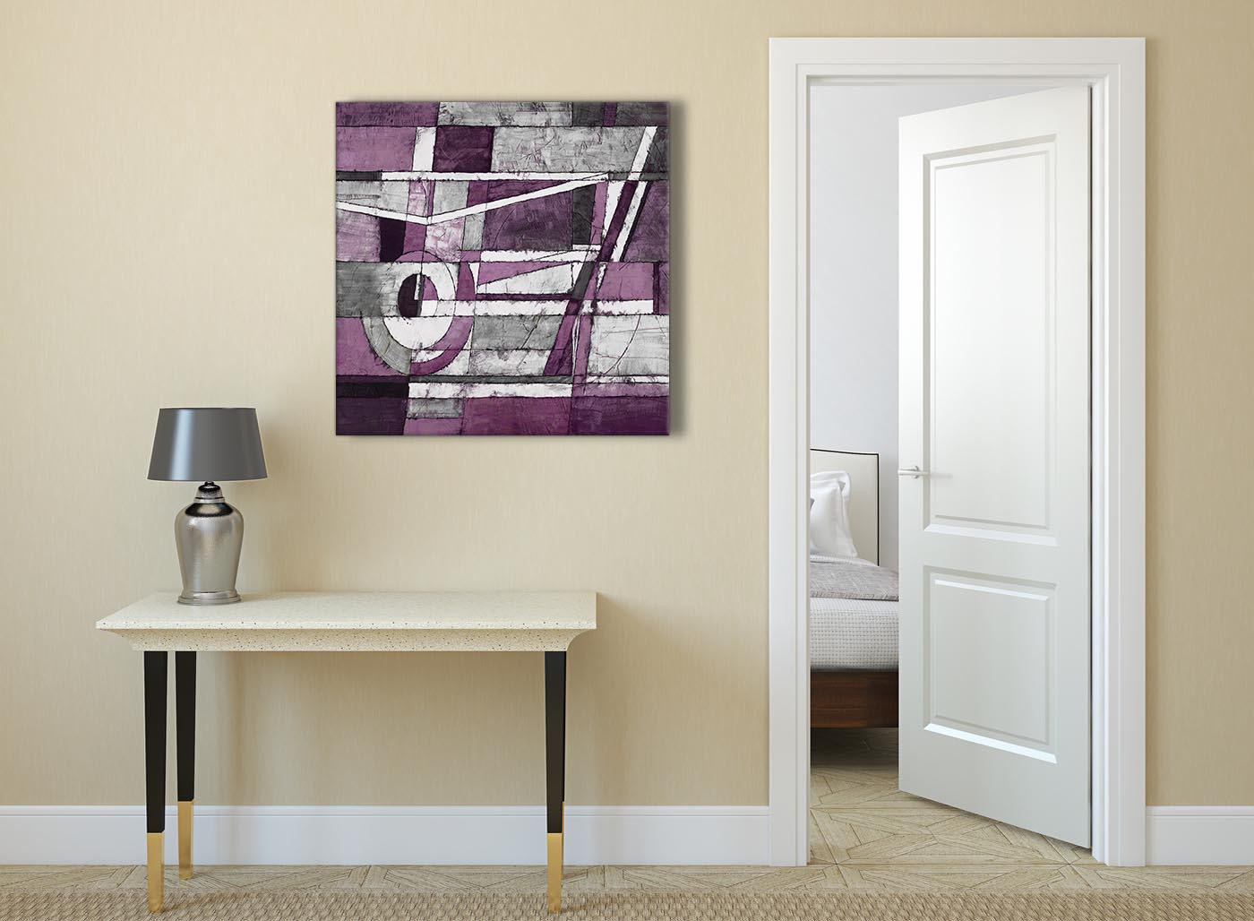 Aubergine Grey White Painting Abstract Office Canvas Pictures Accessories 1s406l 79cm Square Print