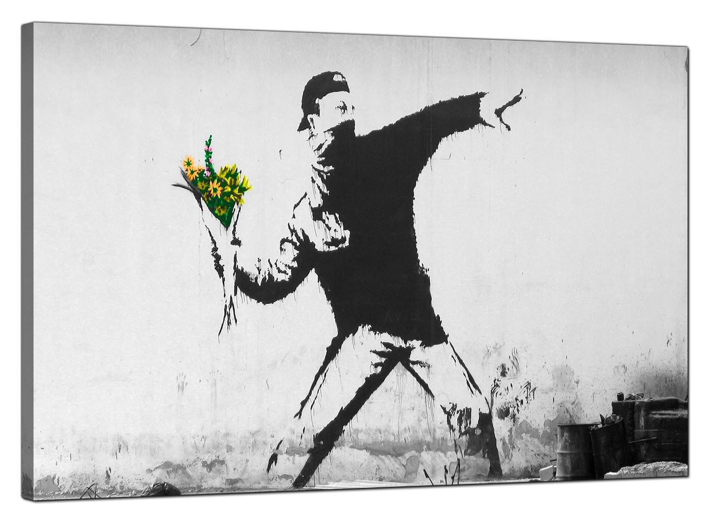 Banksy Canvas Prints Flower Thrower