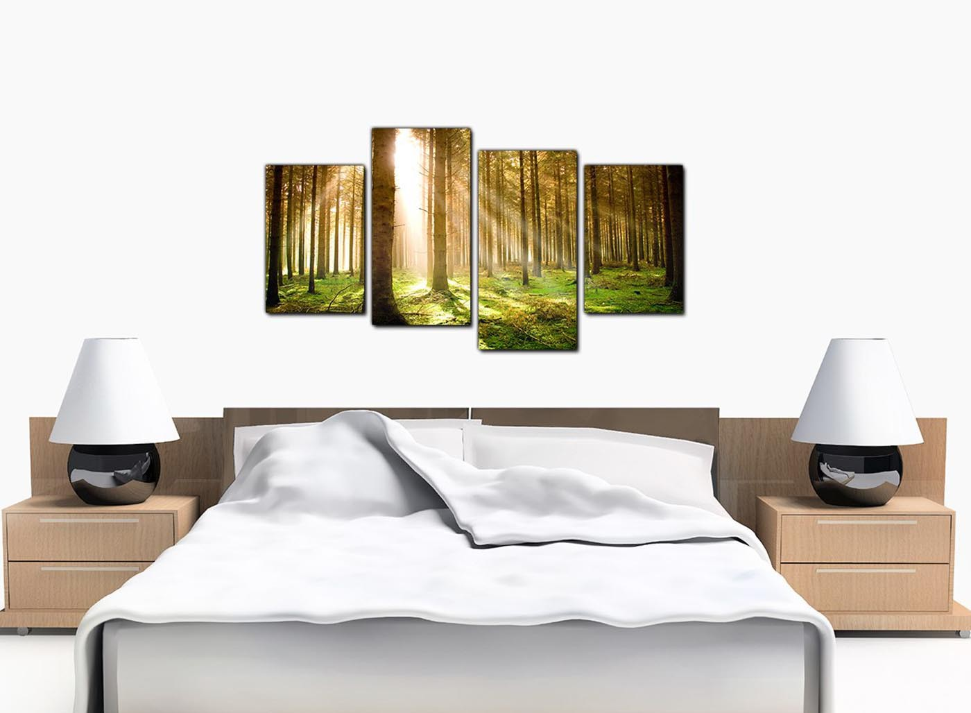 Canvas Art Of Trees For Your Bedroom 4 Part