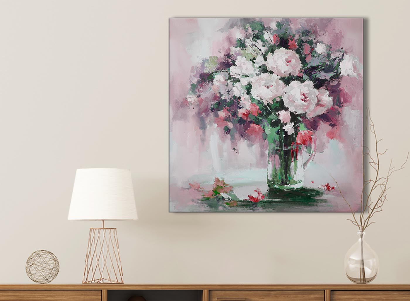 Blush pink flowers painting bathroom canvas pictures accessories item number 1s441s mightylinksfo