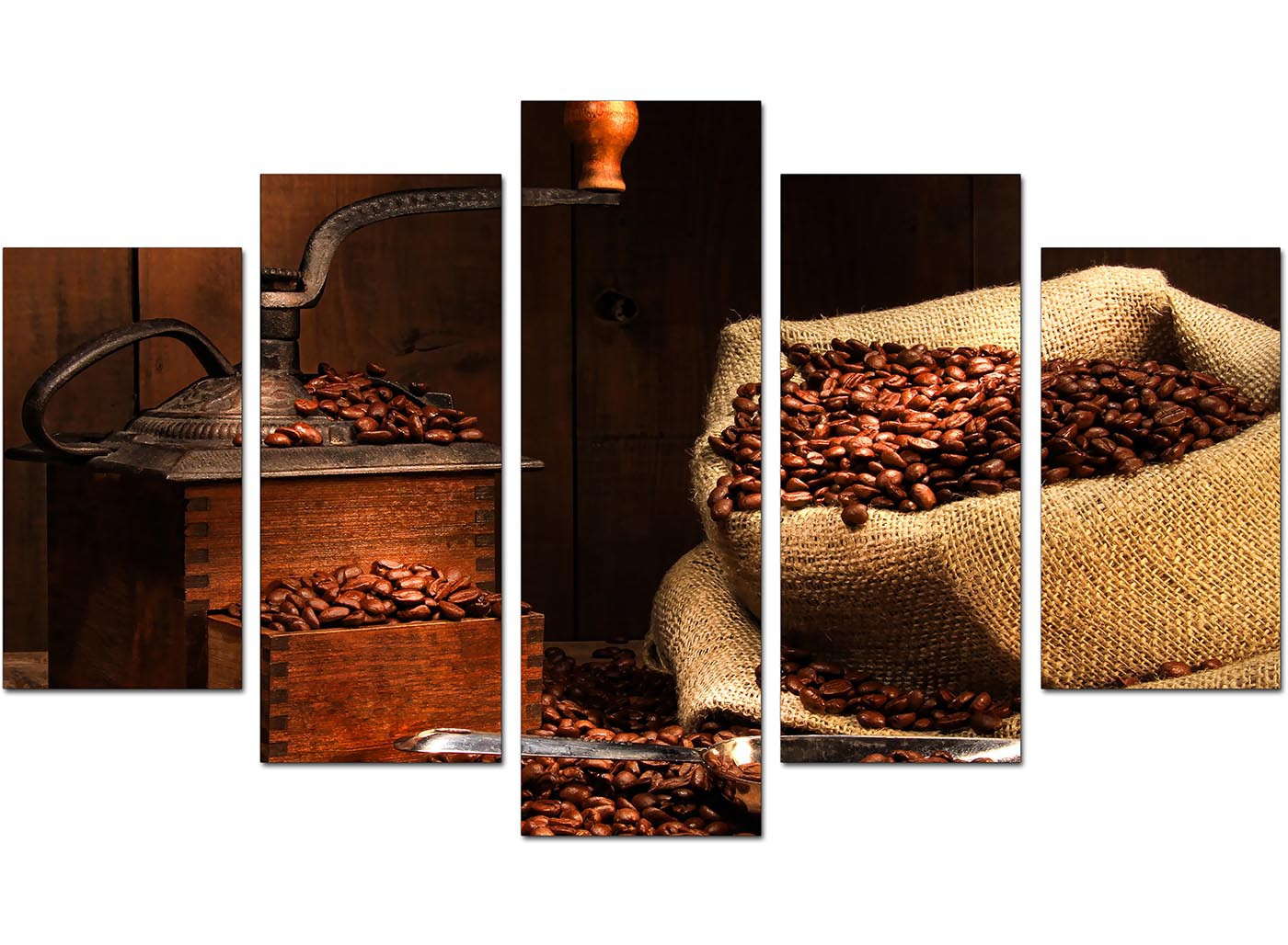Extra Large Brown Coffee Beans Grinder Kitchen Canvas   5 Panel   160cm    5062