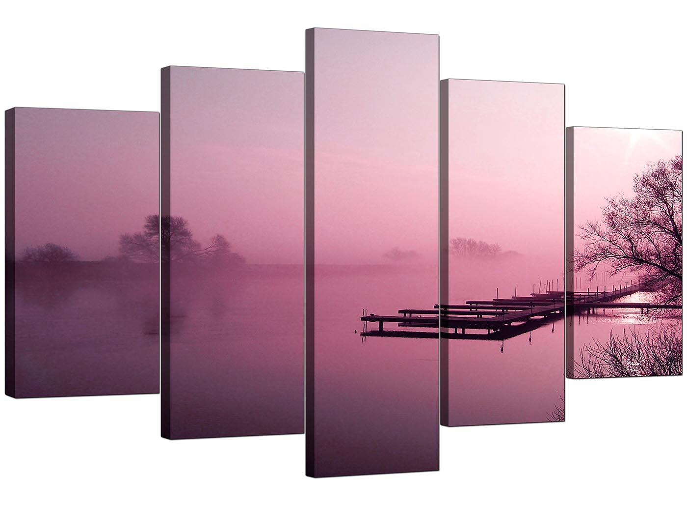 Extra Large River Landscape Canvas Wall Art 5 Panel In Plum
