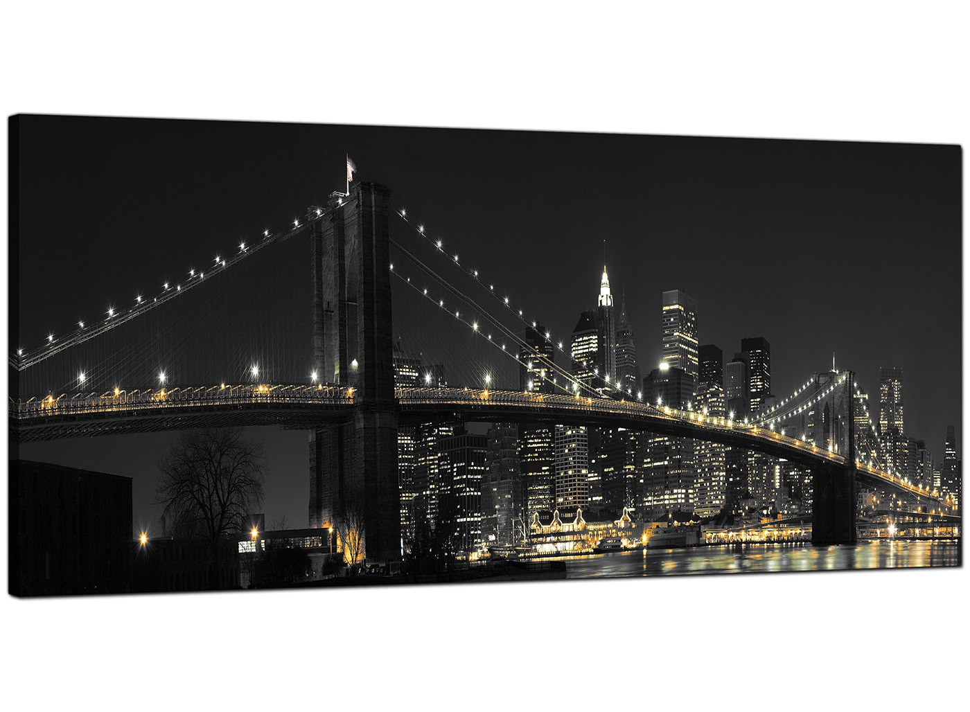 Panoramic Canvas Art Of Brooklyn Bridge New York For Your