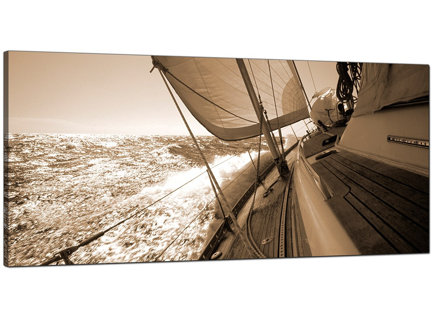 Large Brown Canvas Wall Art Of A Sailing Boat