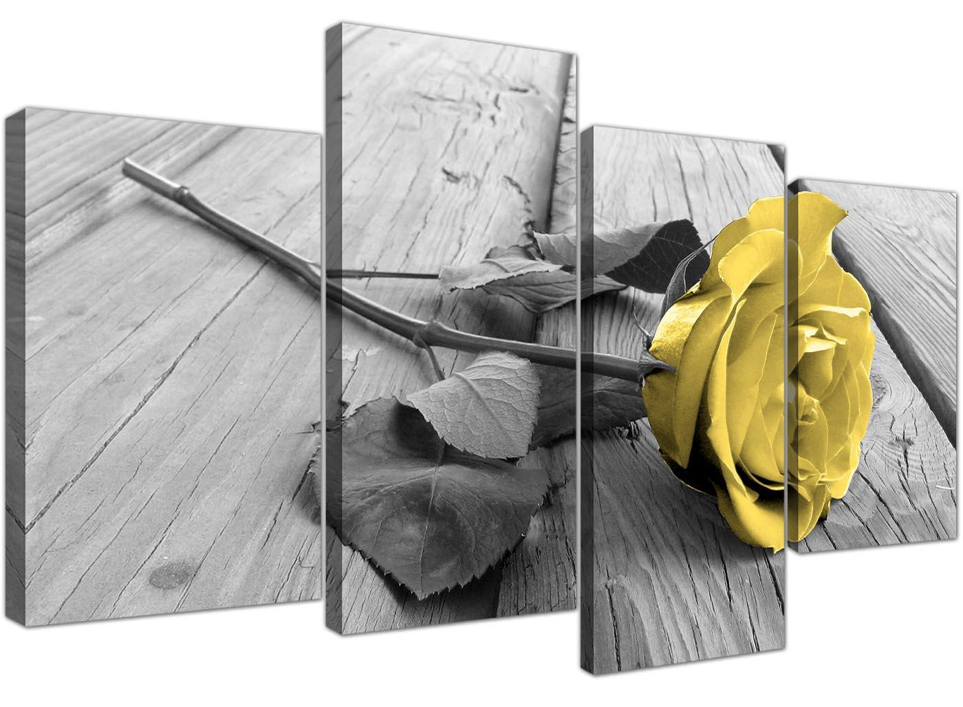 Canvas Art Of Yellow Rose Pictures Black White Grey For