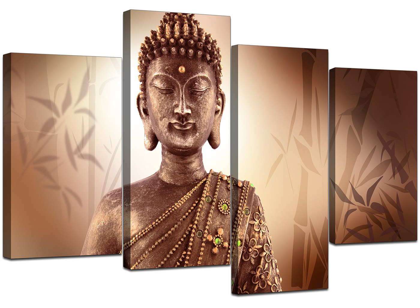 Canvas Wall Art Of Buddha In Brown For Your Hallway