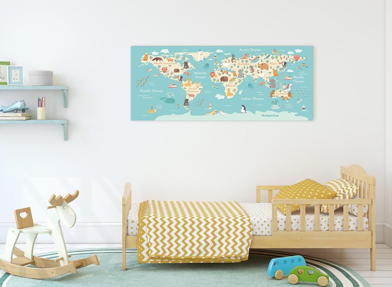 Animal Map Of World Atlas Canvas Art For Childrens Nursery