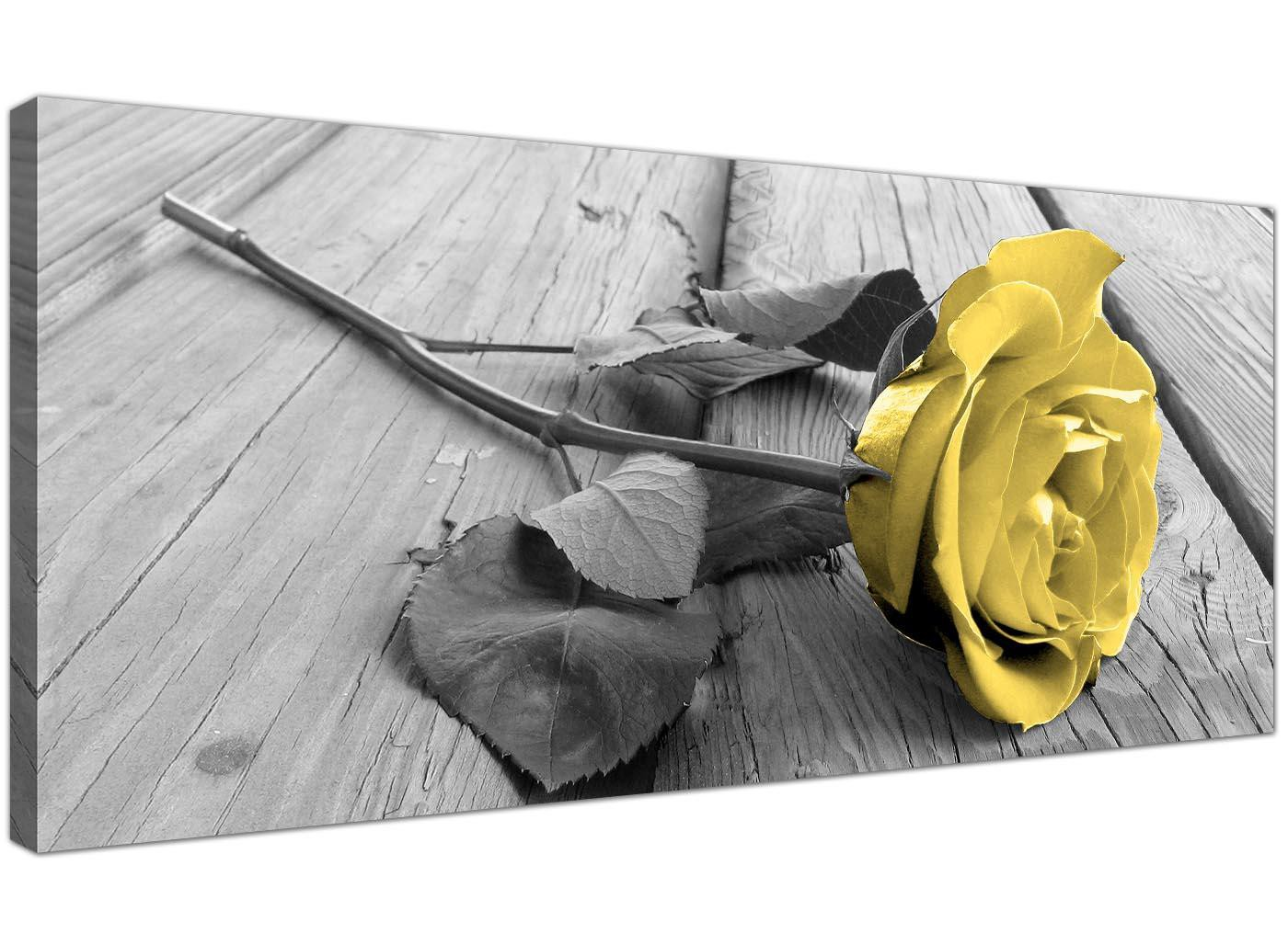 Modern Canvas Wall Art Of Yellow And Grey Rose In Black