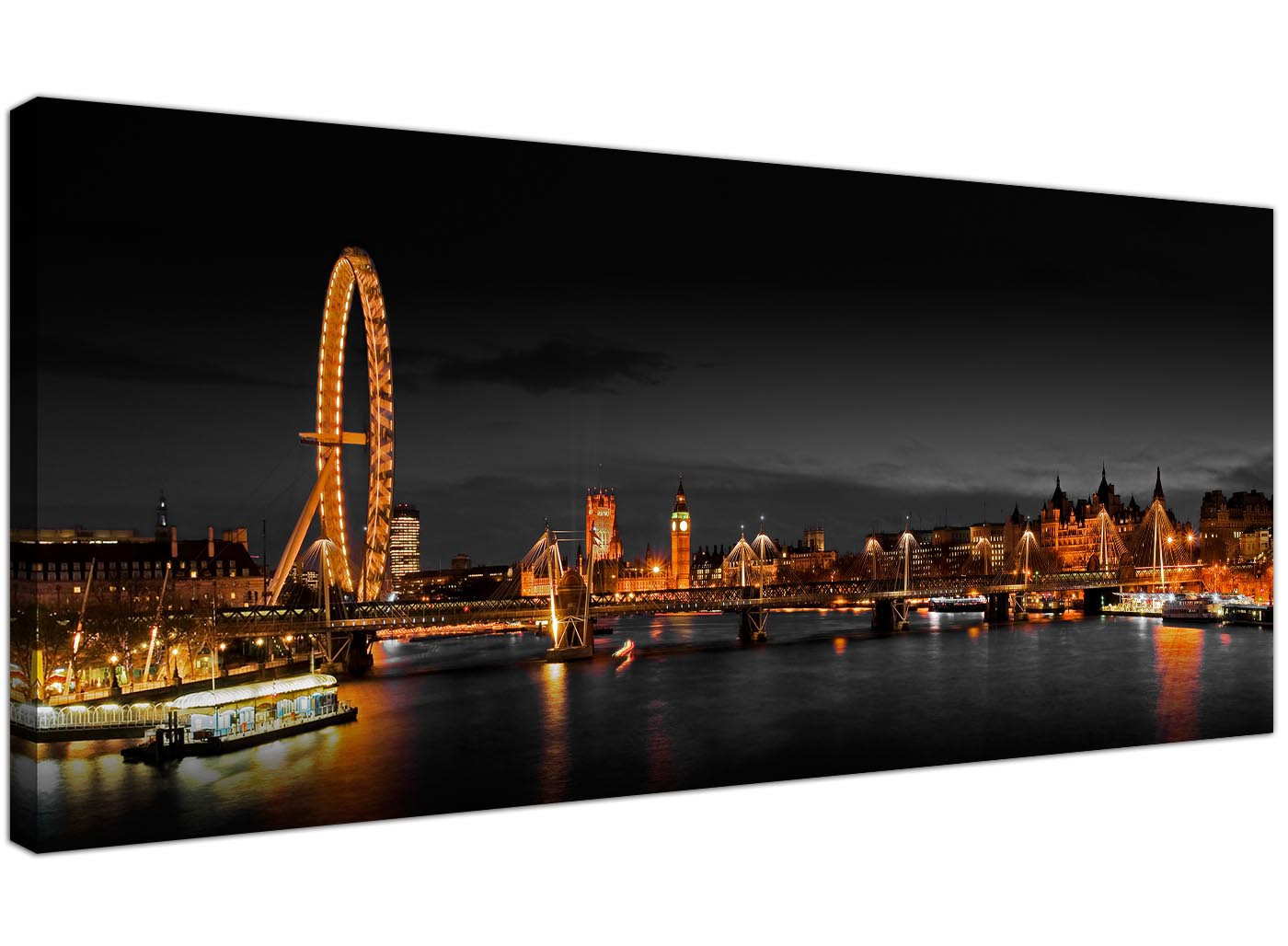 Panoramic Canvas Wall Art Of London Eye At Night For Your