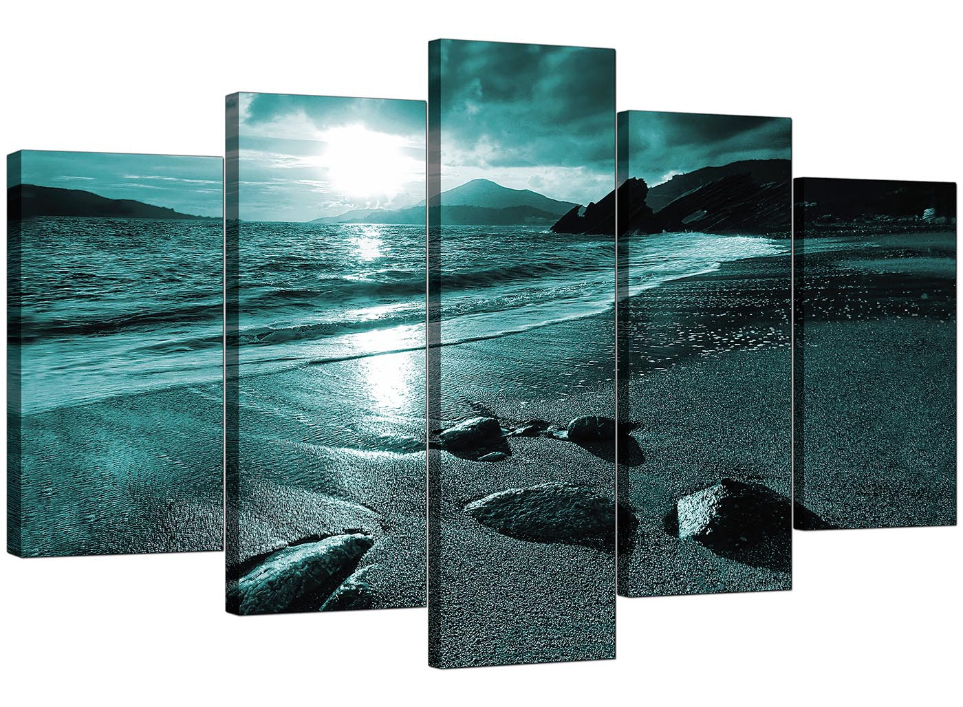 Extra Large Sunset Canvas Prints 5 Panel In Teal