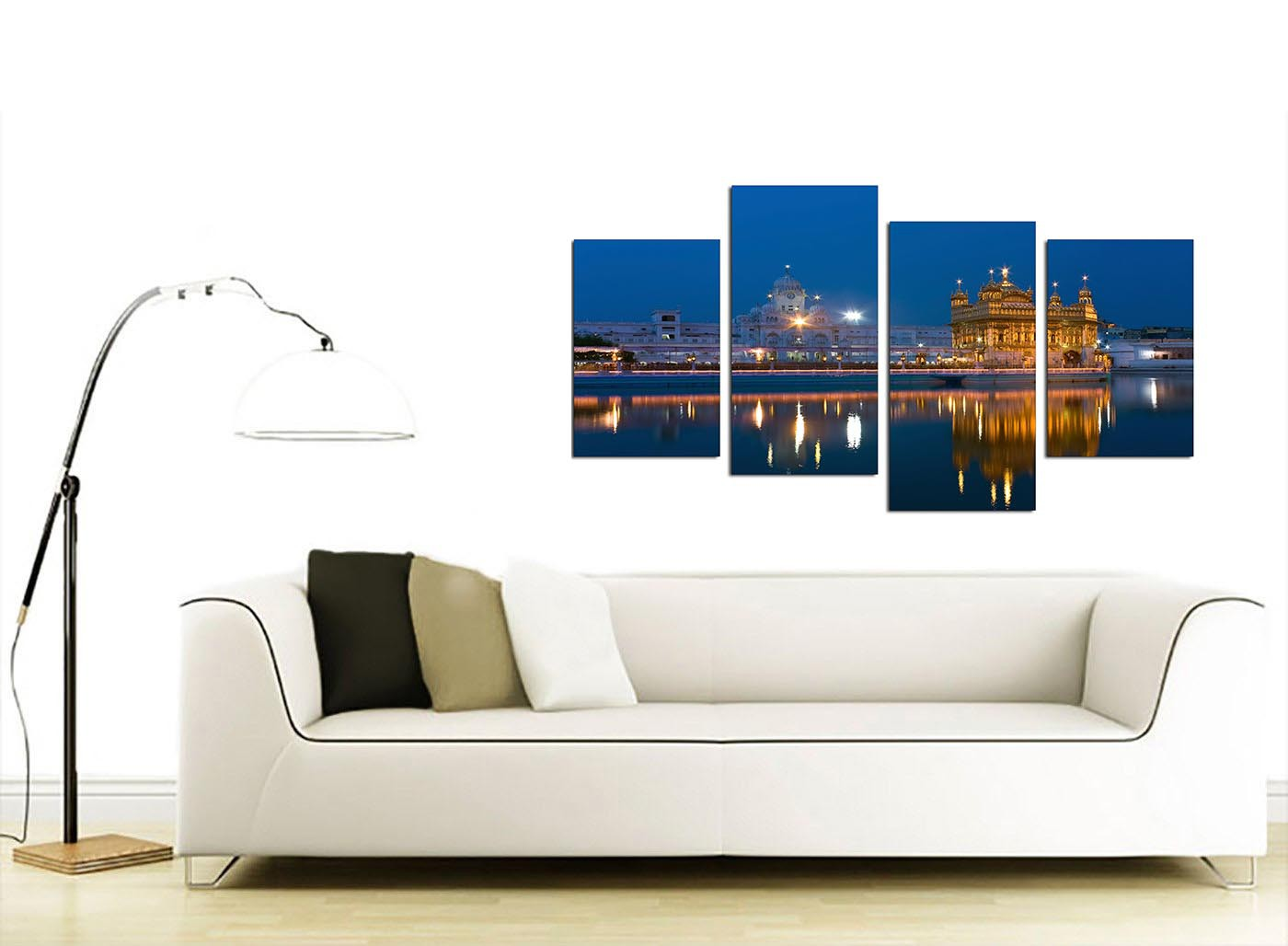 Sikh golden temple amritsar blue canvas split 4 panel 130cm 4196