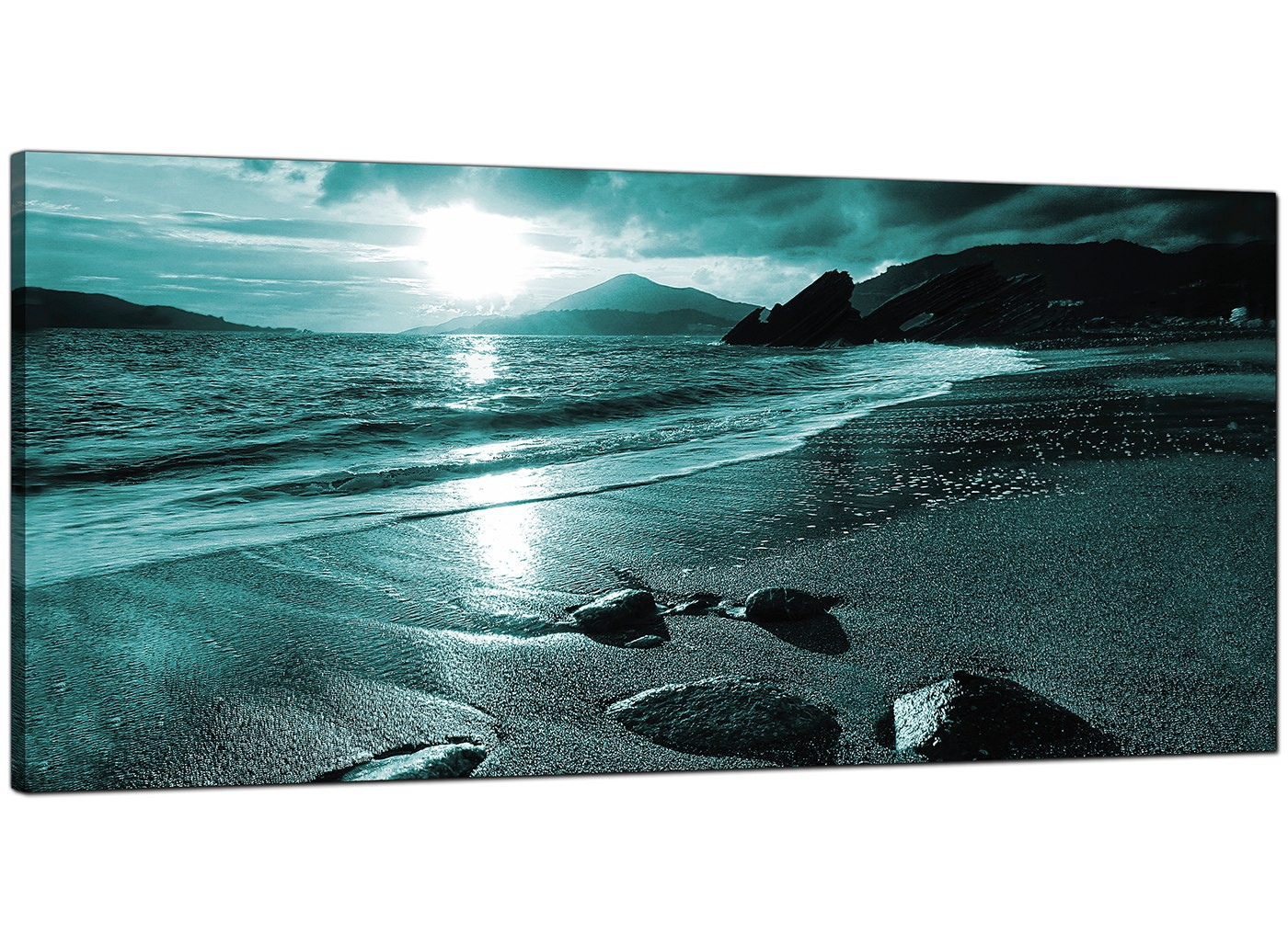 Modern Teal Canvas Pictures Of A Beach Sunset