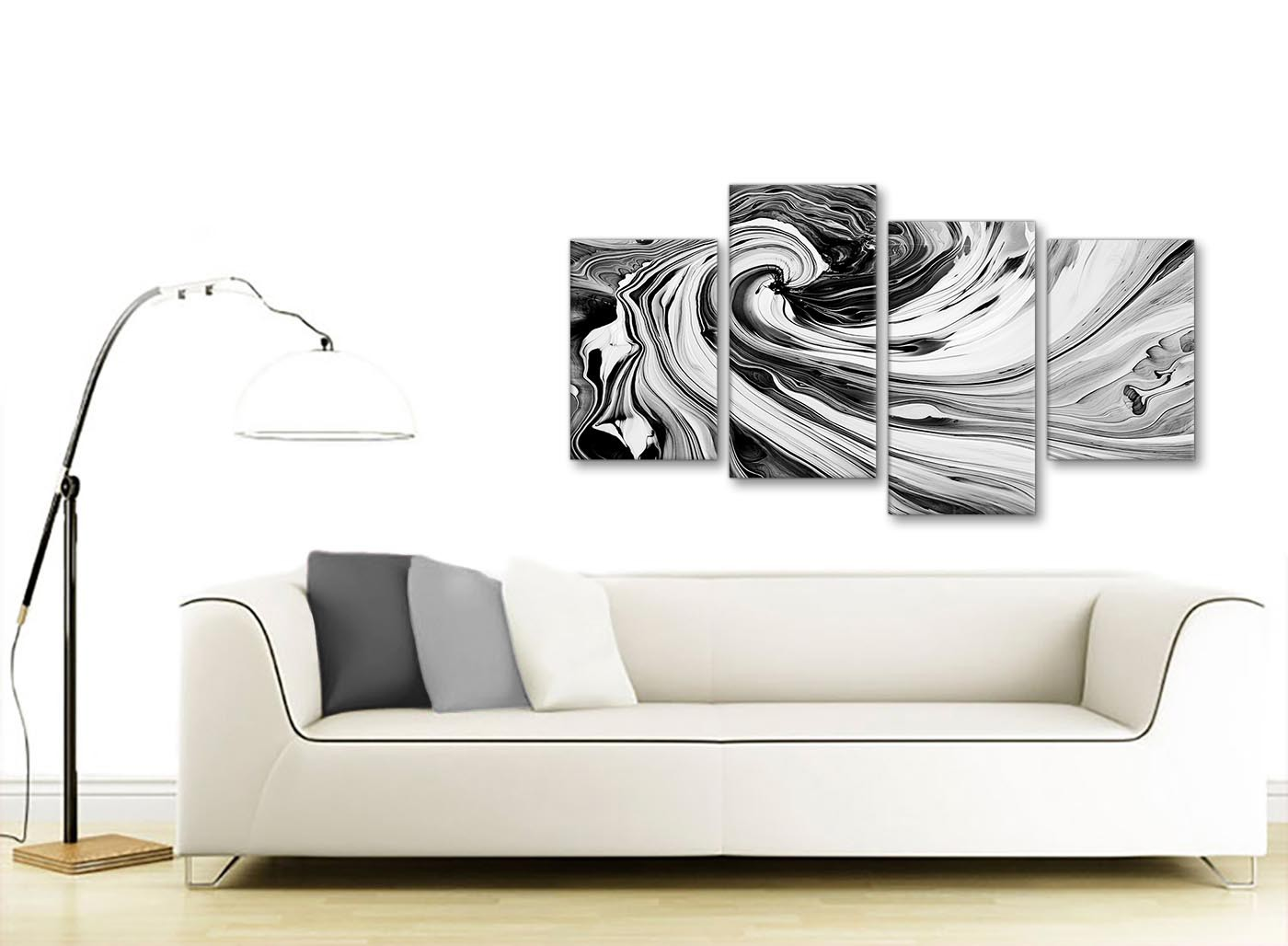 Large Abstract Wall Art Picture Canvas Orange White Grey Split Panel 112cm