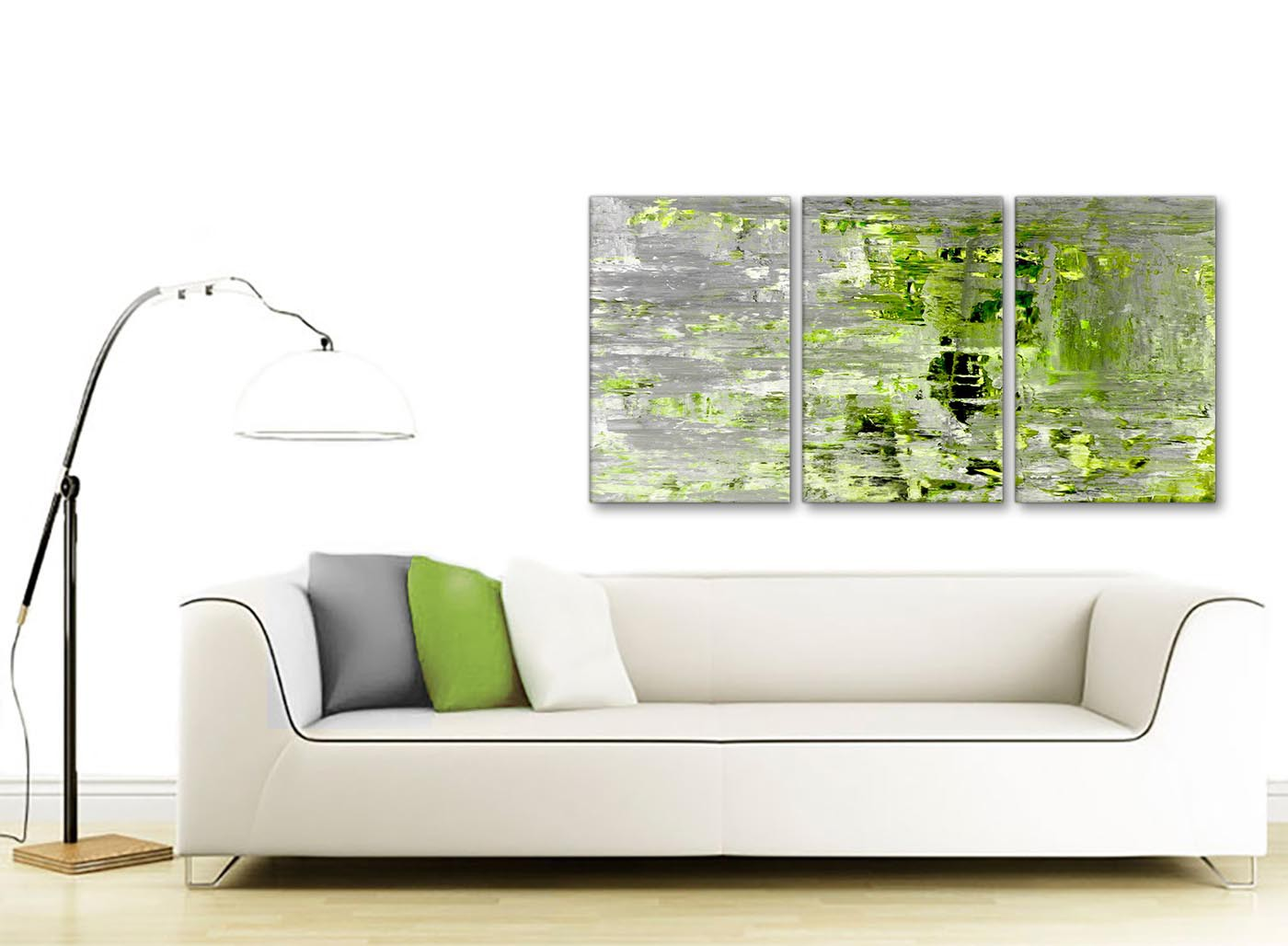 Lime Green Grey Abstract Painting Wall Art Print Canvas