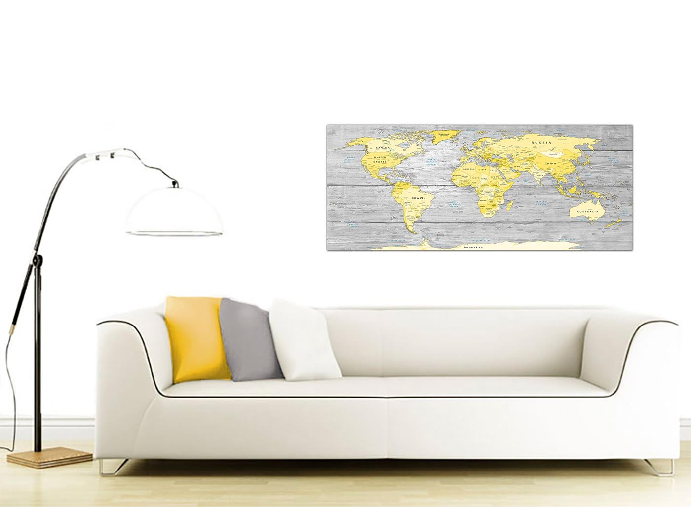 5d9d6eb7f5b Large Yellow Grey Map of World Atlas Canvas Wall Art Print - Maps Modern  120cm Wide - 1305