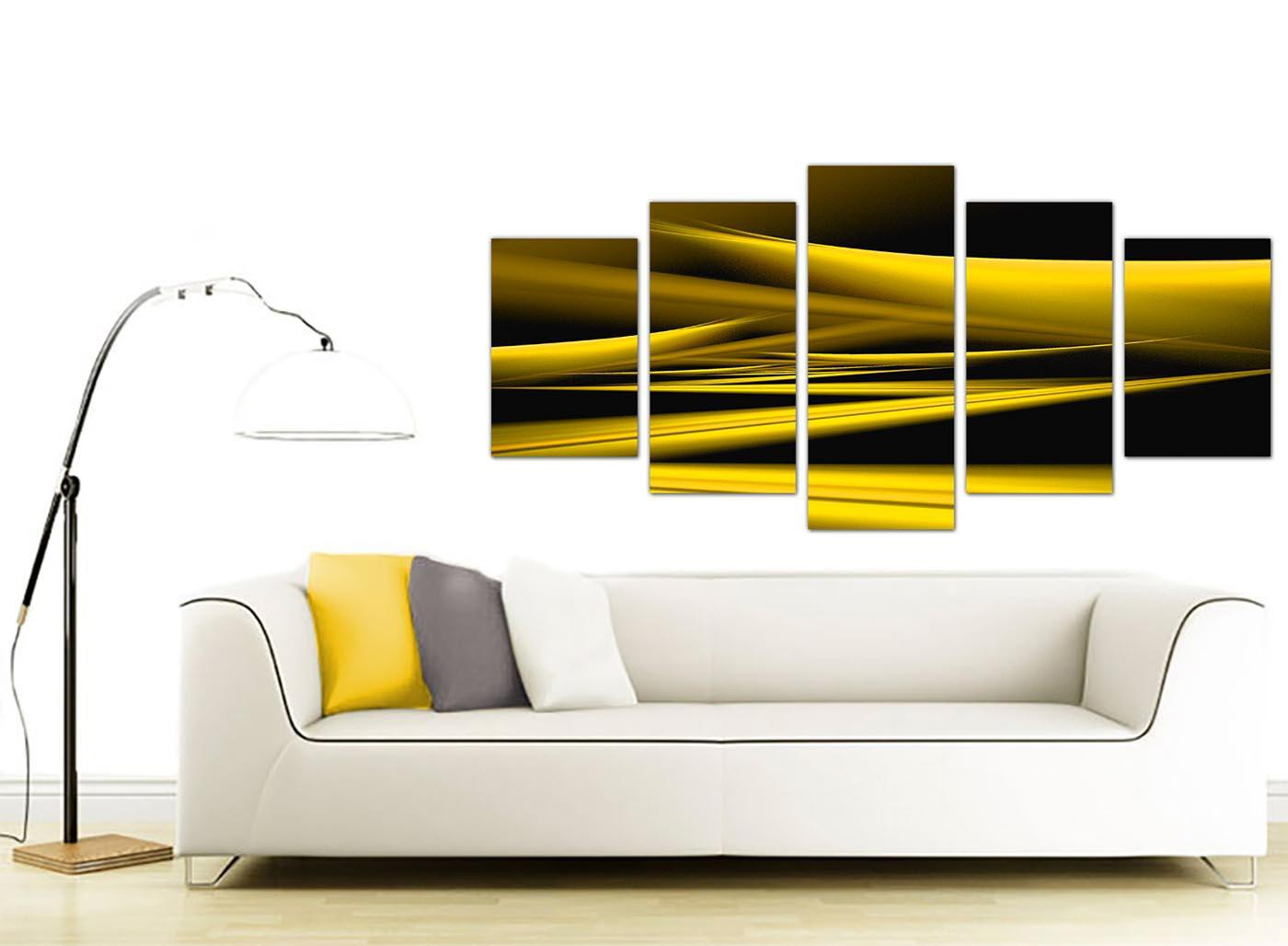 Extra Large Abstract Yellow and Black Canvas Prints