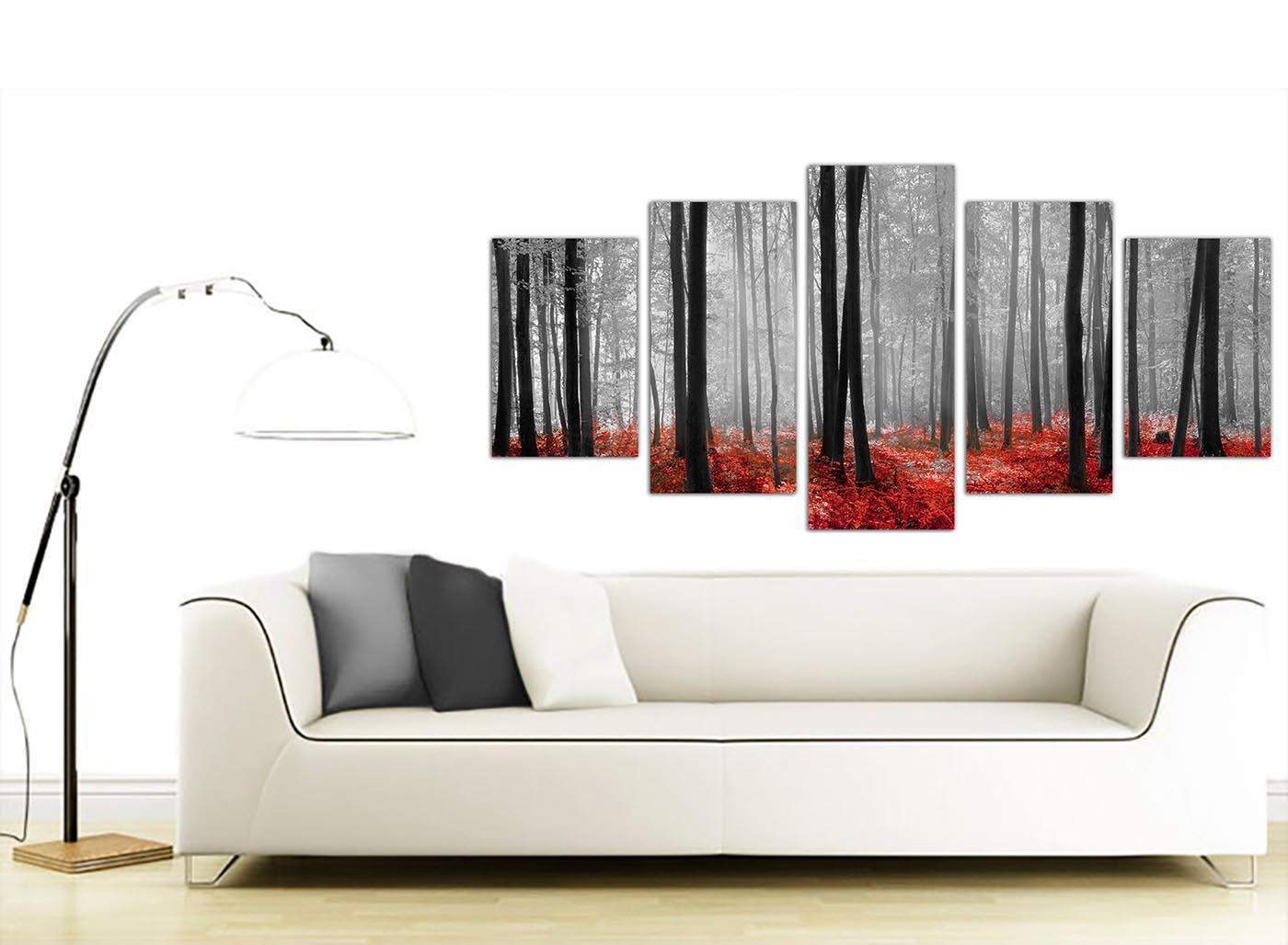 Black white red grey forest woodland trees xl canvas set of 5 160cm 5236