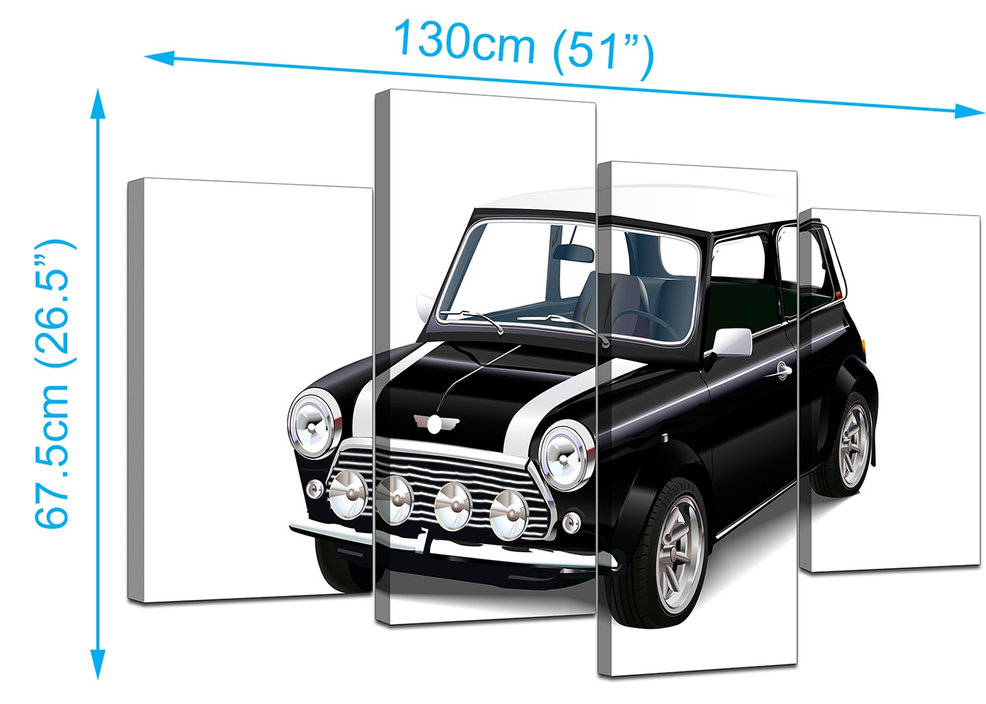 Canvas Prints Of Mini Cooper Car In Black & White For Your