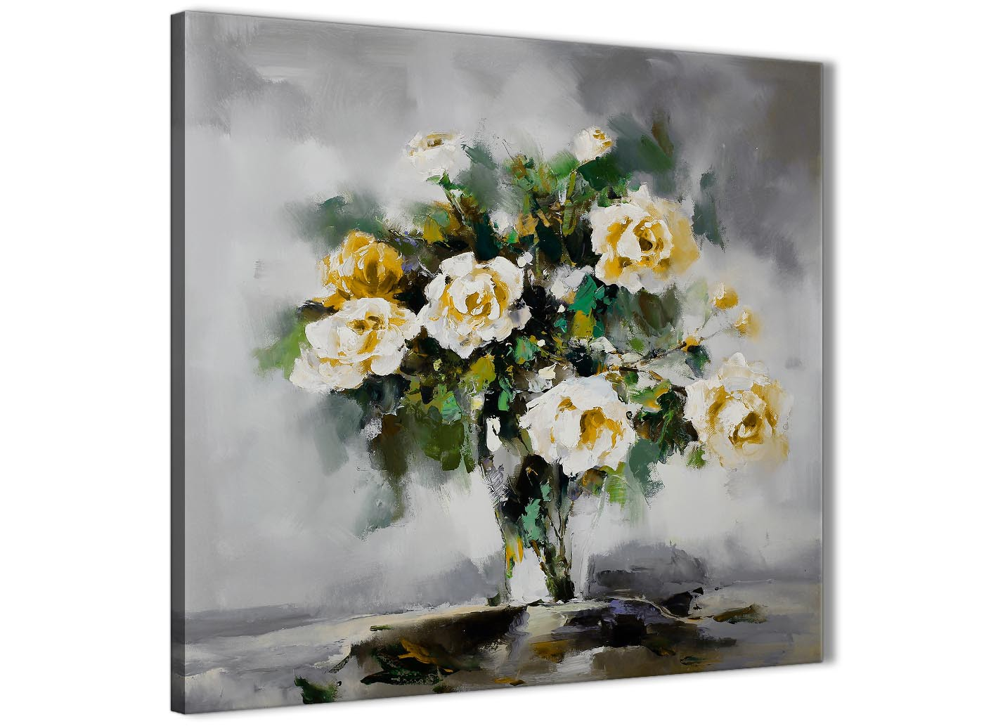 Mustard Yellow Grey Flowers Painting Stairway Canvas