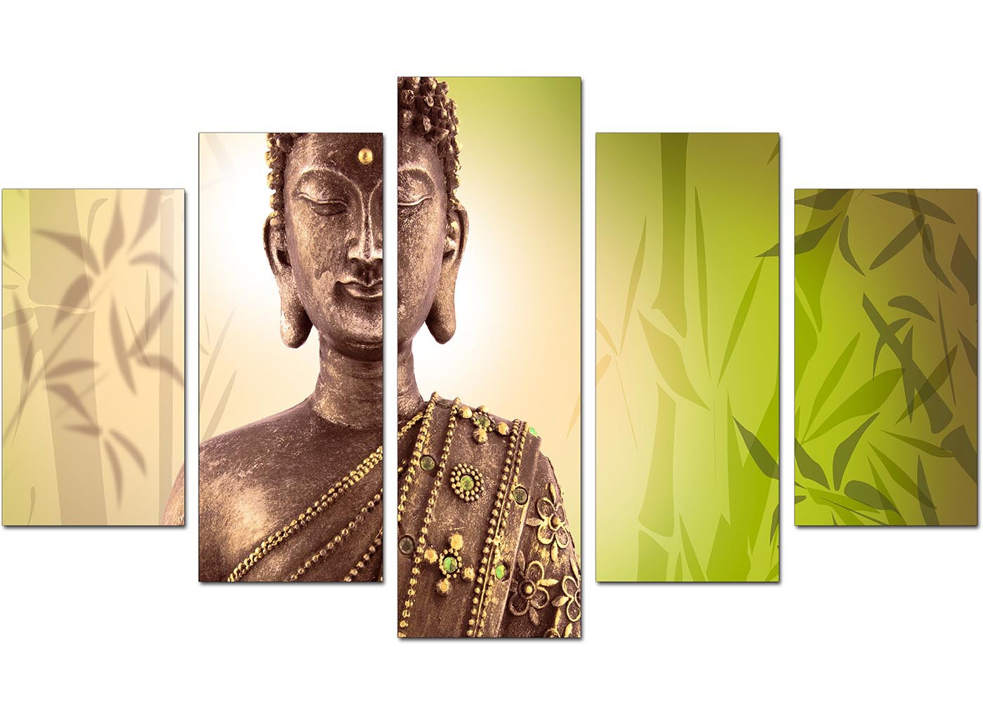 Large Buddha Canvas Wall Art 5 Piece in Green