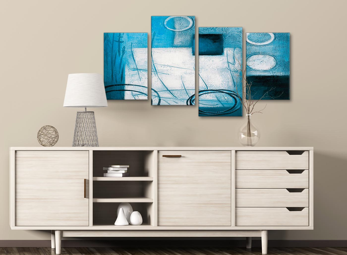 Large Teal White Painting Abstract Bedroom Canvas Wall Art